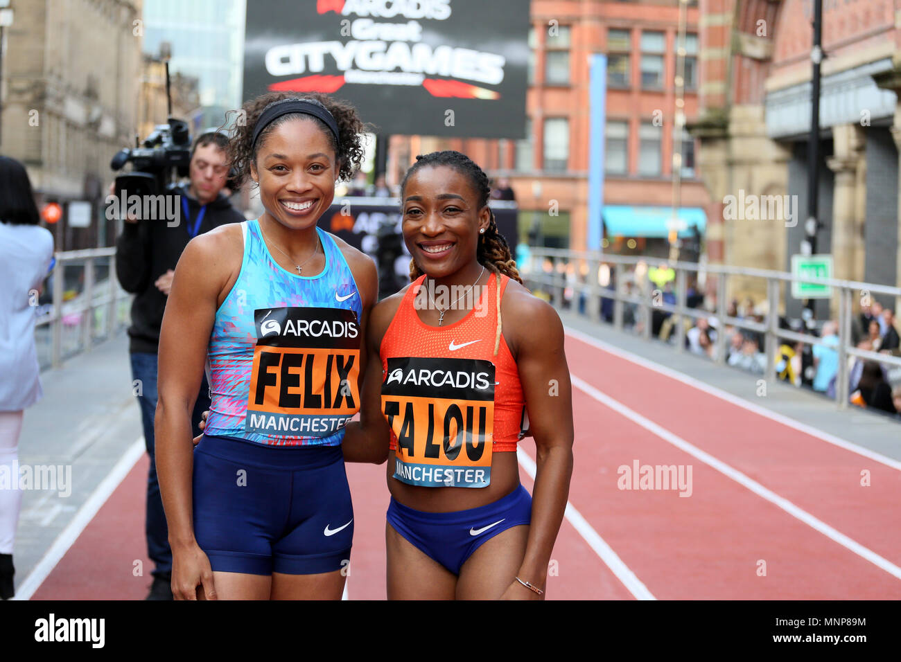 Manchester, UK. 18th May, 2018. Allyson Felix and Marie Josee Ta Lou at the Arcadis Great City Games, Manchester,18th May, 2018 (C)Barbara Cook/Alamy Live News - Stock Image