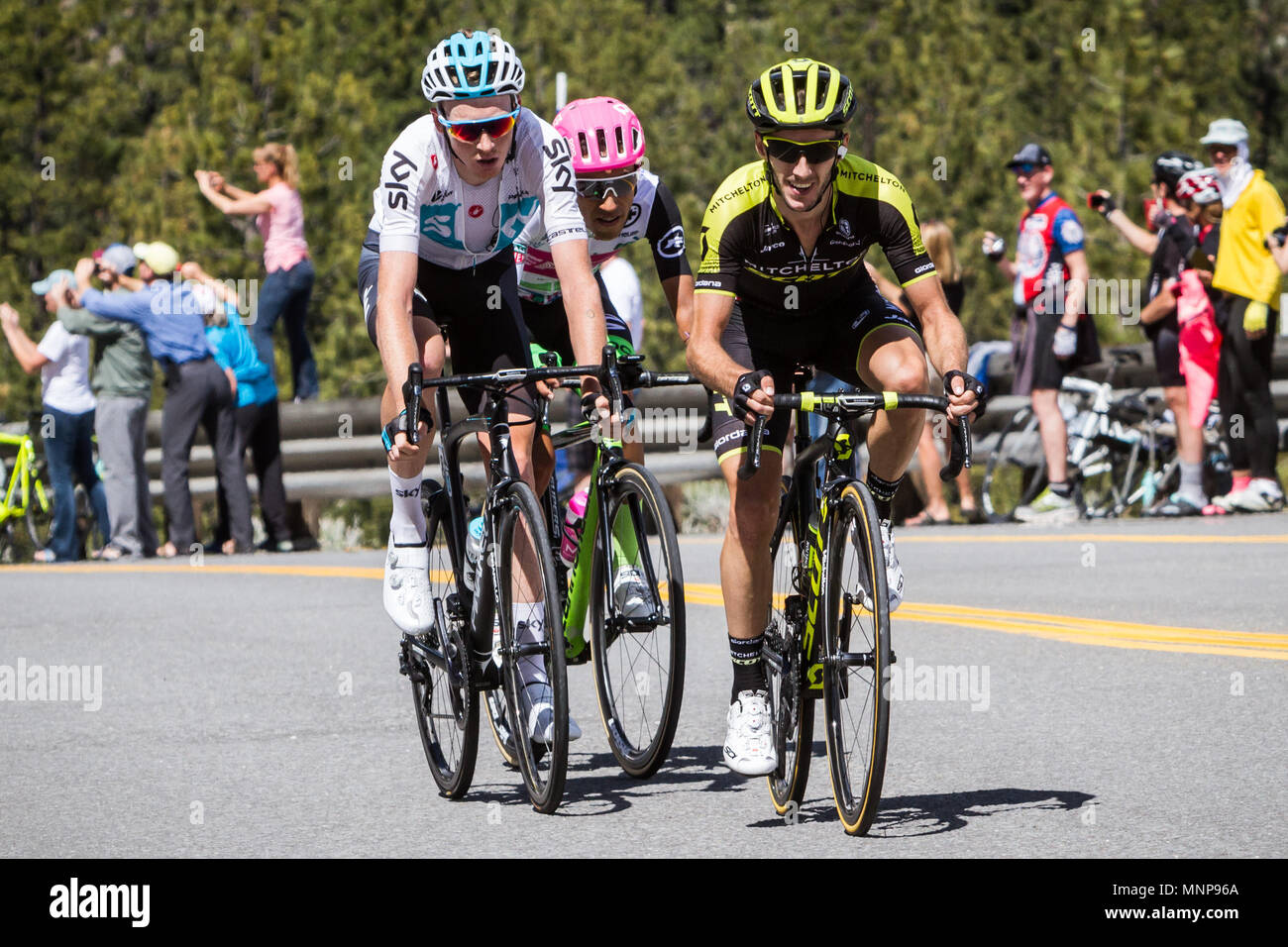 Nevada, USA. 18th May, 2018. A trio of riders approach Daggett Summitt, 7334 ft, along Kingsbury Grade Rd., Nevada, near South Lake Tahoe, during Stage 6 of Amgen Tour of California on Friday, May 18, 2018. Credit: Tracy Barbutes/ZUMA Wire/Alamy Live News - Stock Image