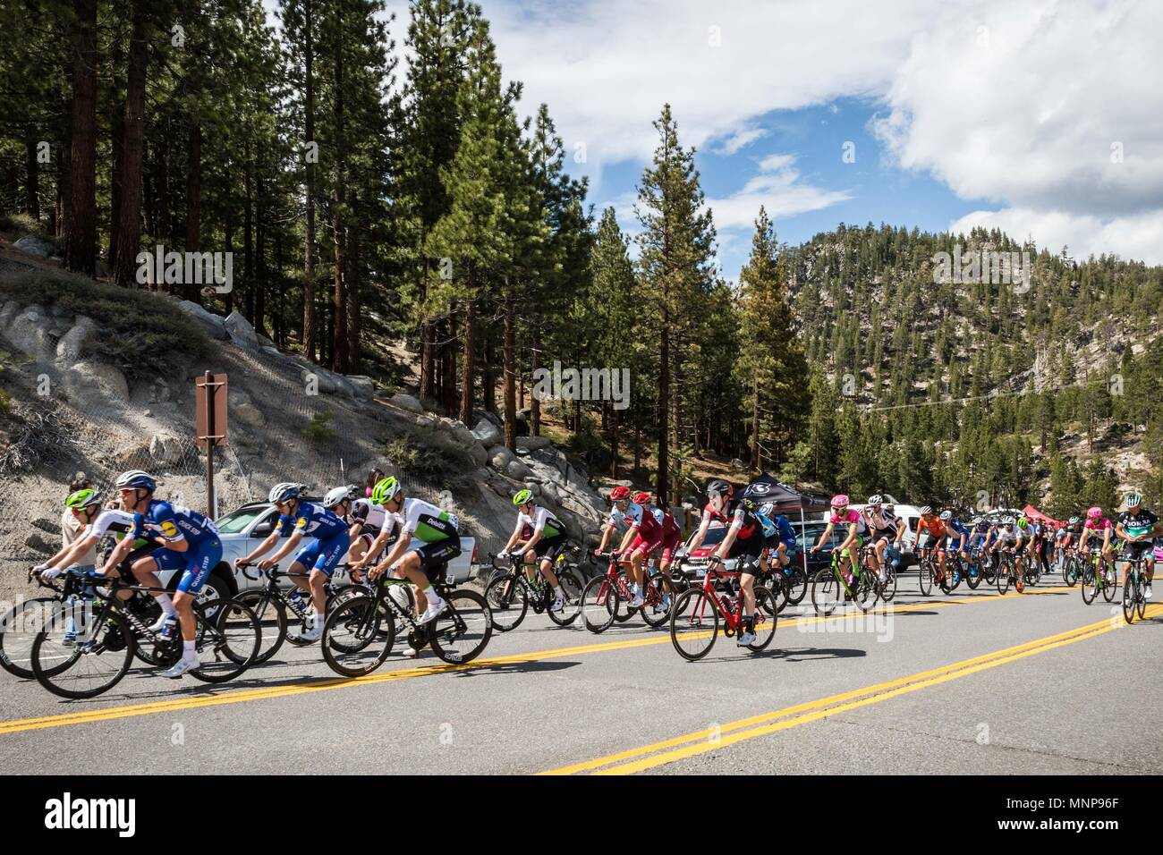 Nevada, USA. 18th May, 2018. A group of riders approach Daggett Summitt, 7334 ft, along Kingsbury Grade Rd., Nevada, near South Lake Tahoe, during Stage 6 of Amgen Tour of California on Friday, May 18, 2018. Credit: Tracy Barbutes/ZUMA Wire/Alamy Live News - Stock Image