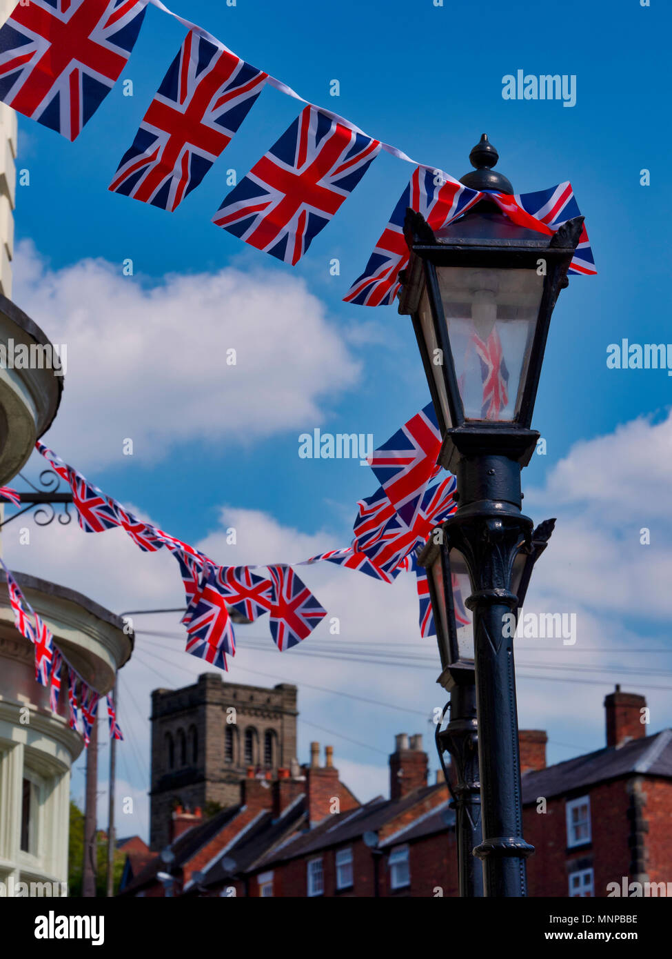 Ashbourne, Derbyshire, UK, 19 May 2018. A typical scene in an English town with Royal Union Jack Flags flying on the day of the Royal wedding in Ashbourne, Derbyshire the gateway to the Peak District National Park Credit: Doug Blane/Alamy Live NewsStock Photo