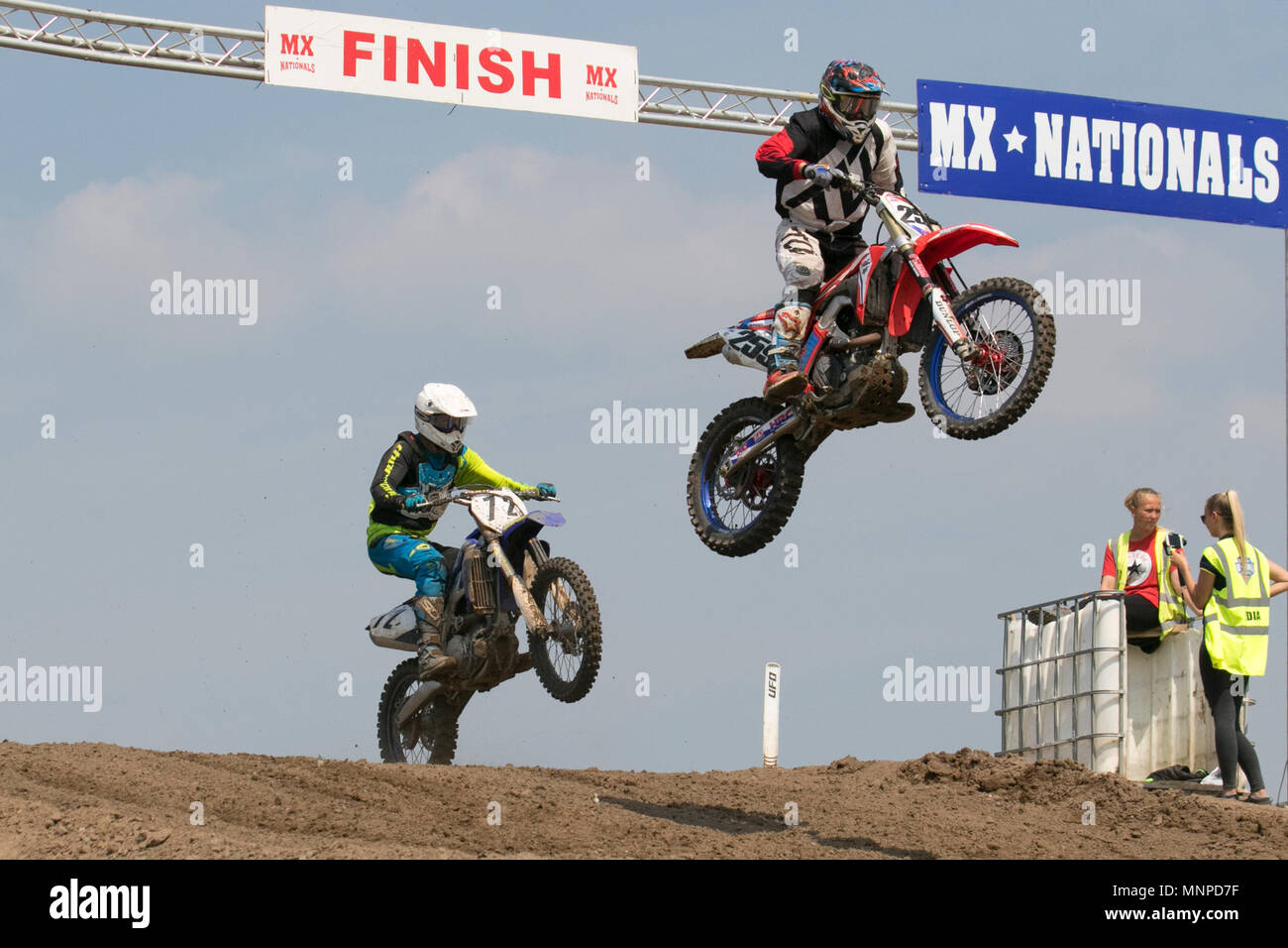 Preston, UK. 19/05/2018.  Michelin MX Nationals moto cross, moto cross,  race, sport, motorcycle, motorcycle racing, motorycles, scrambler bikes, , speed, bike, competition, motor, extreme, motorbike, rider, transportation, power, cycle, jump, riding, danger, racer,  outdoor, fast, motorsport, biker, fun, offroad, transport, dangerous event in dockland. Motocross by RHL Activities Ltd at Preston Docks British Championships.   Credit: MediaWorldImages/AlamyLiveNews - Stock Image