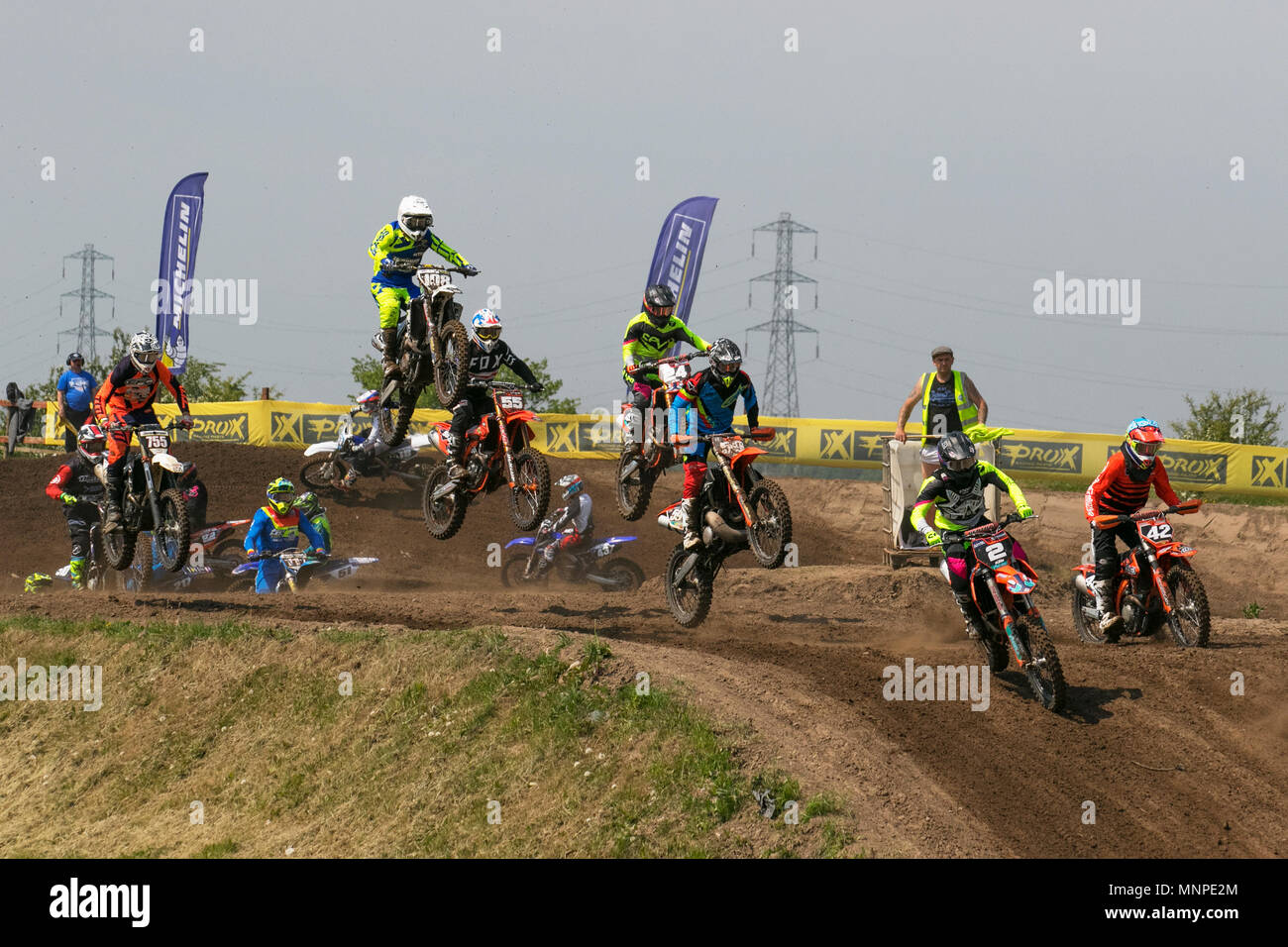 Preston, UK. 19/05/2018.  Michelin MX Nationals moto cross,  race, sport, motorcycle, racing, motorycles, scrambler bikes, speed, bike, competition, motor, extreme, motorbike, rider, transportation, power, cycle, jump, riding, danger, racer,  outdoor, fast, motorsport, biker, fun, offroad, transport, dangerous, event in dockland. Motocross by RHL Activities Ltd at Preston Docks British Championships.   Credit: MediaWorldImages/AlamyLiveNews - Stock Image