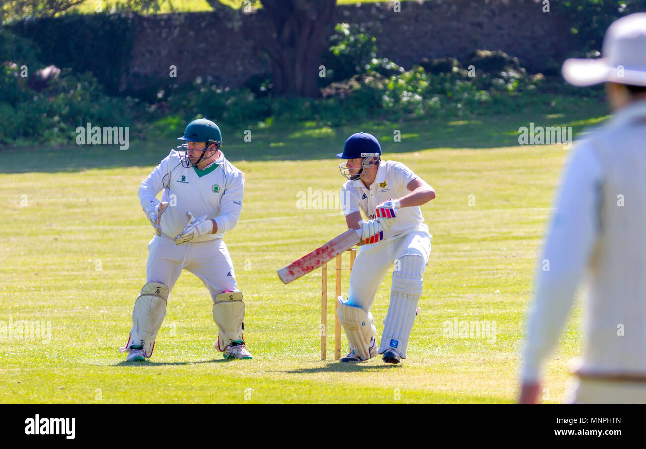 East Dean, East Sussex, United Kingdom. 19th May 2018. East Dean and Friston Cricket club play Heathfield Park Cricket club in the Sussex Divison 5 cricket league. Credit: Alan Fraser/Alamy Live News - Stock Image