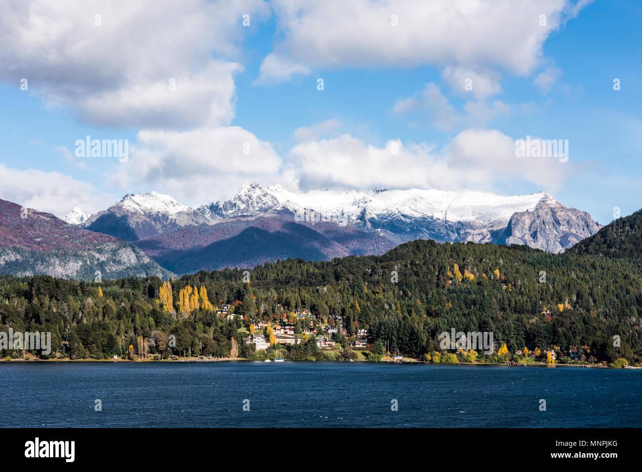 Autumn Colors in Nahuel Huapi lake, Patagonia - Argentina, near Bariloche - Stock Image