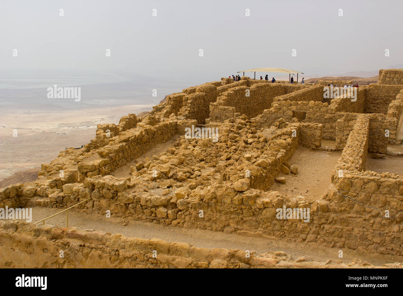Some of the reconstructed ruins of the ancient Jewish clifftop fortress of Masada in Southern Israel. Scene of an historic mass suicide by Jews Stock Photo