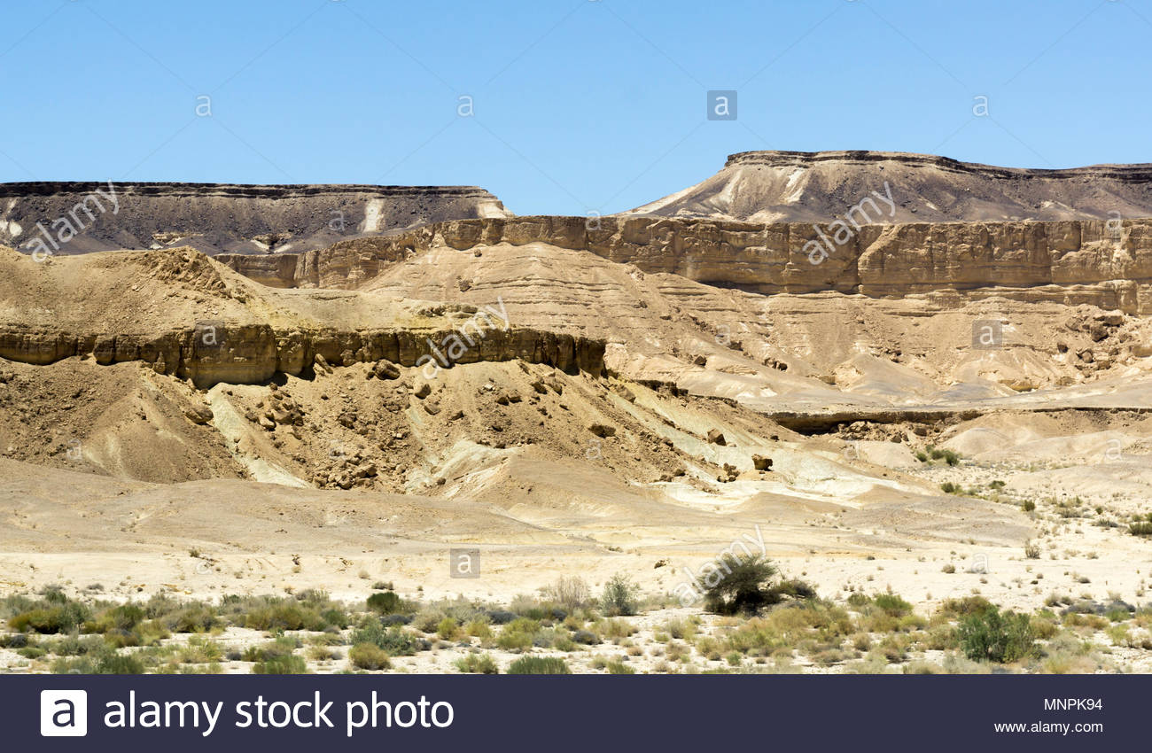 Landforms in the Makhtesh Ramon in the Ramon Nature Reserve in the Negev Desert in Israel. - Stock Image