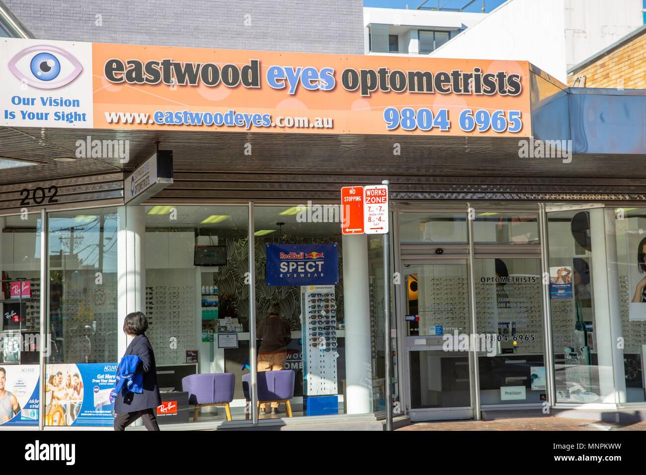 Optician in the suburb of Eastwood,Sydney,Australia - Stock Image