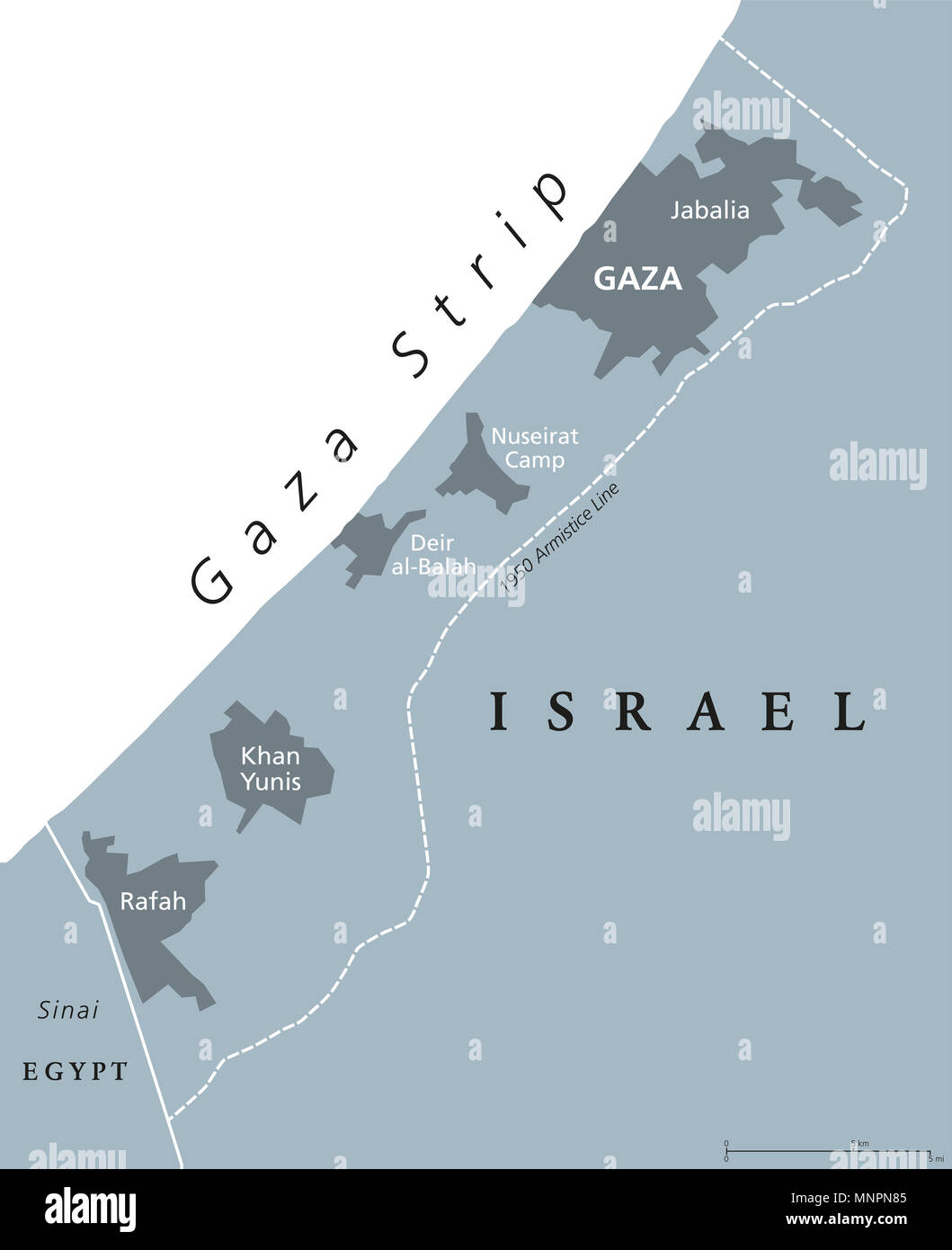 Gaza Strip Political Map Self Governing Palestinian Territory On