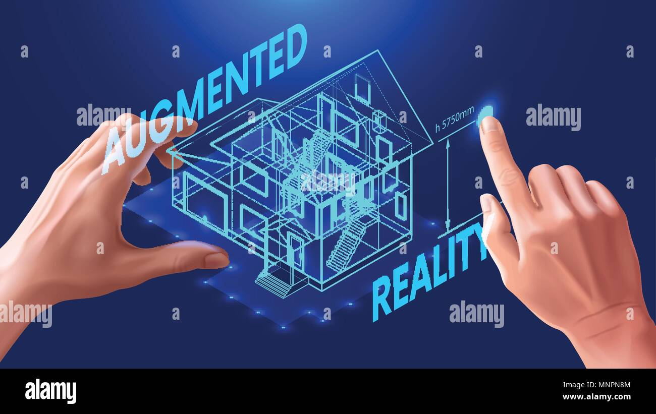 3d House Plan The Engineer Uses Virtual Interface For Augmented Electrical Reality In Architectural Design Of Interactive C