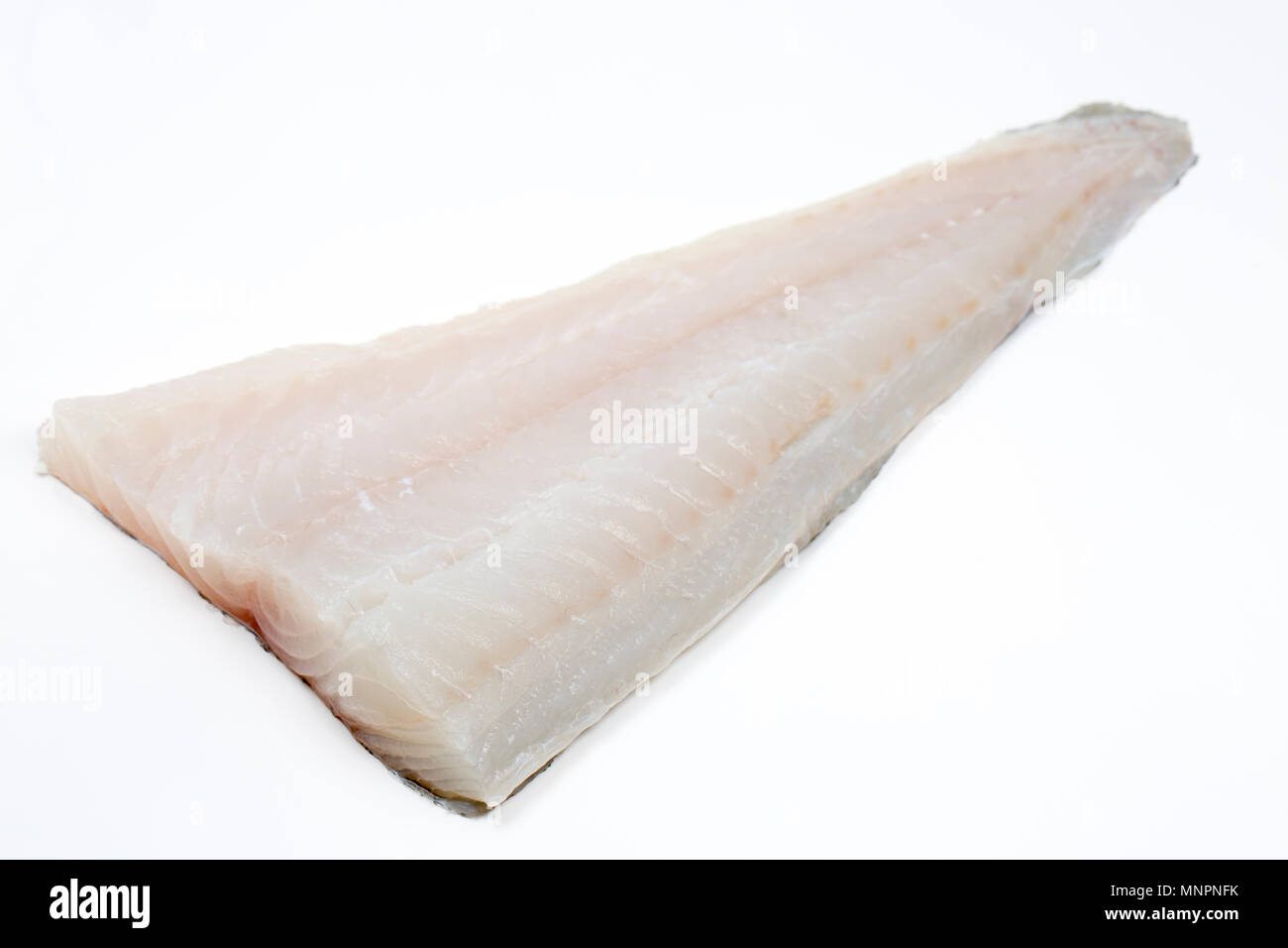 A fillet of pollack, Pollachius pollachius, that was caught on a lure with rod and line from a private boat in the English Channel off the coast of Do - Stock Image