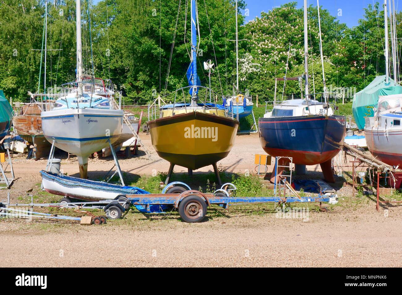 Eversons boatyard by the River Deben, Woodbridge, Suffolk. May 2018. - Stock Image