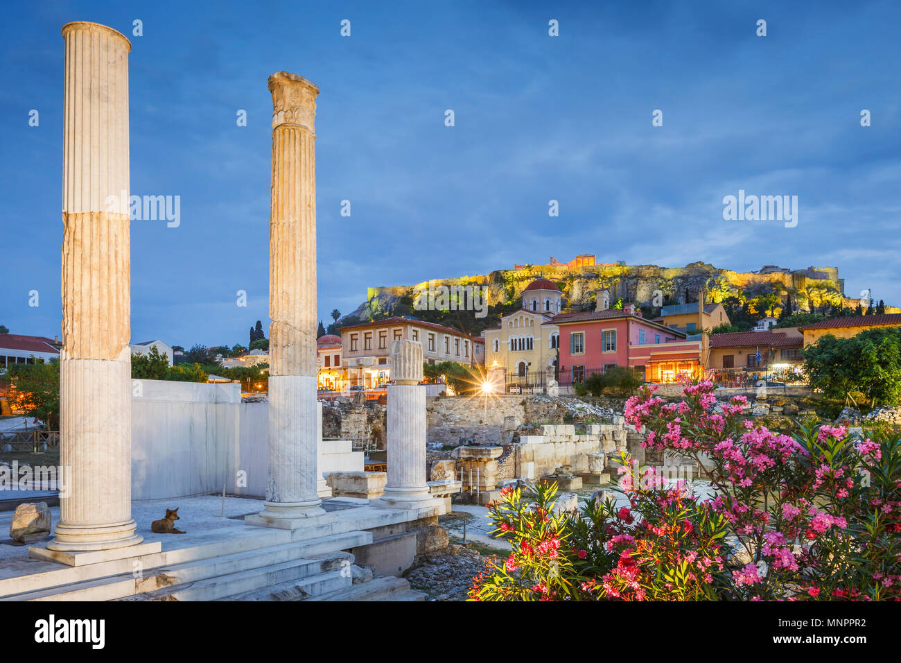 Remains of Hadrian's Library and Acropolis in the old town of Athens, Greece. - Stock Image