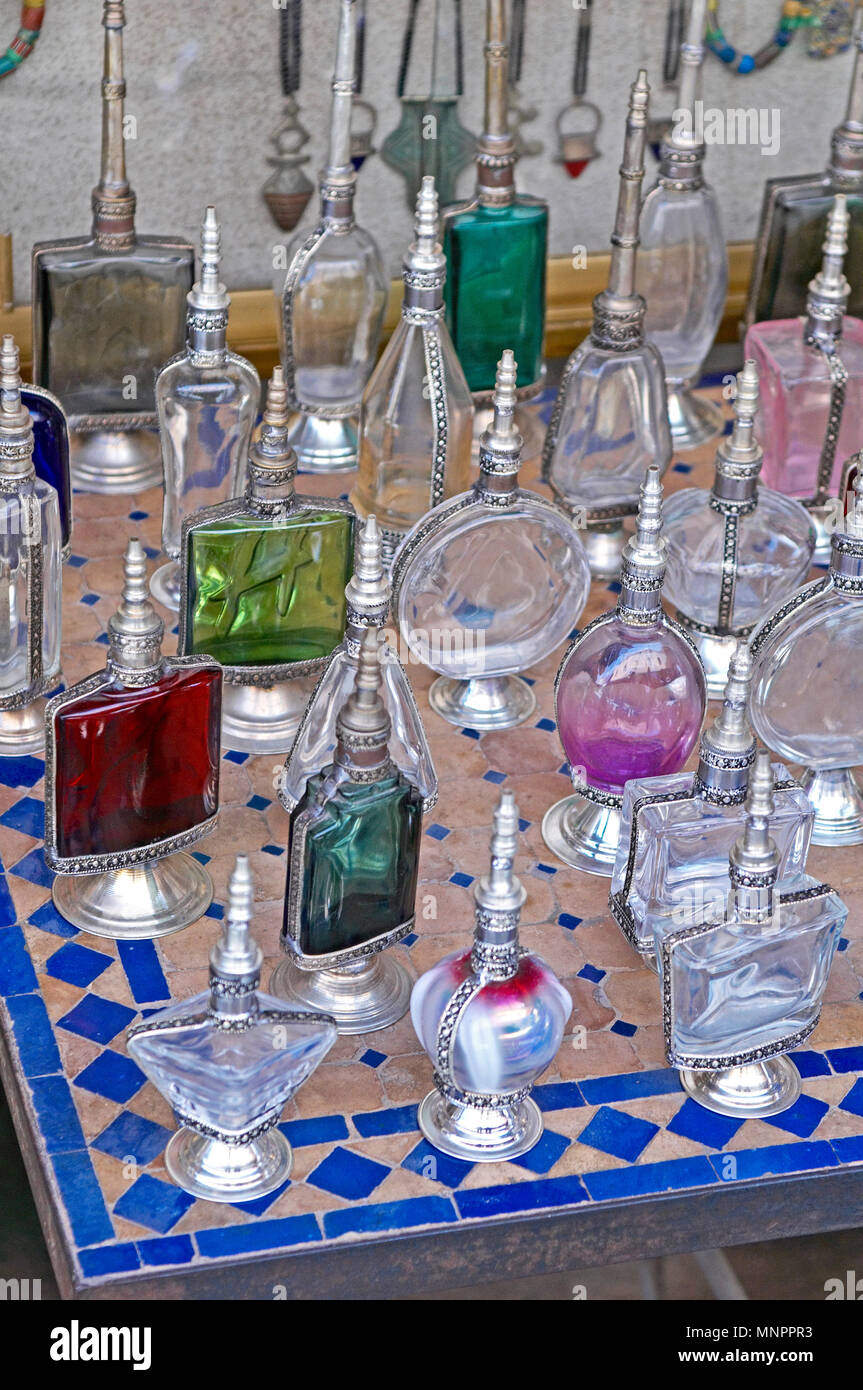 A display of traditioal Scent Bottles In the Souk the Street Market at Jemaa el Fnaa in the Medina Old City in the centre of Marrakech in Morocco. The Stock Photo