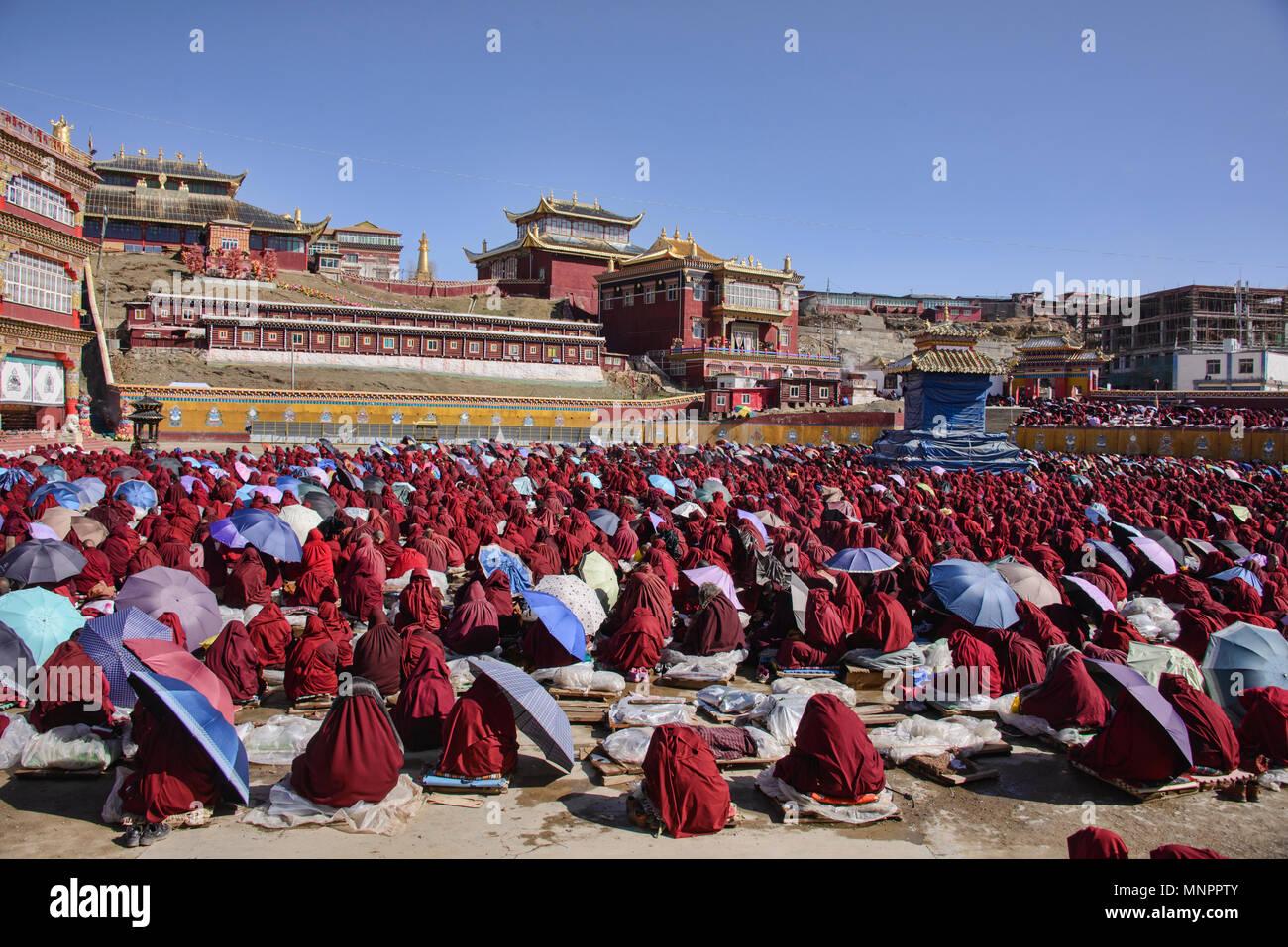 Masses of Tibetan monks and nuns at lama teachings, Yarchen Gar, Sichuan, China - Stock Image