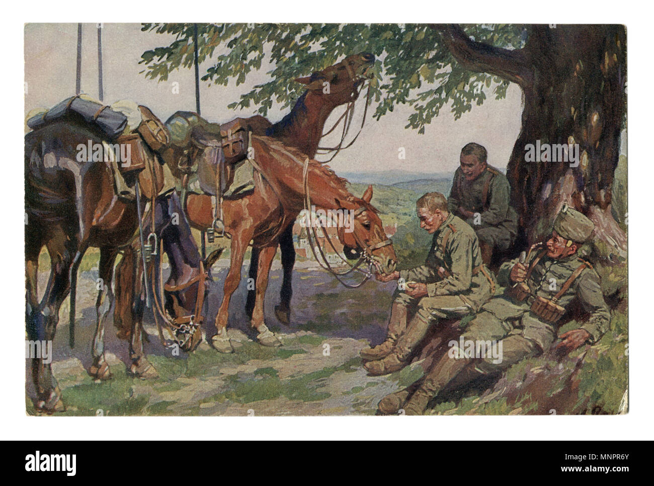 Old German postcard: 'Three friends' Cavalry hussars on a halt in the shade of a tree. One smokes a pipe. The other feeds the horse. world war I 1914 - Stock Image