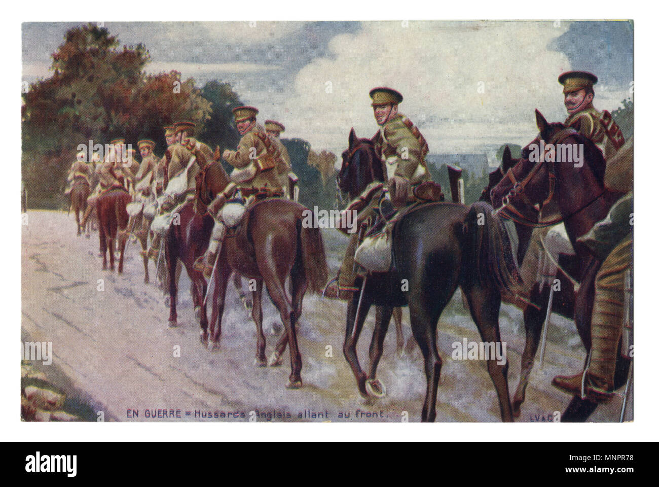 Old French postcard: A column of English cavalry on horseback moving along the road. world war I 1914-1918, The great Britain, Entente. - Stock Image