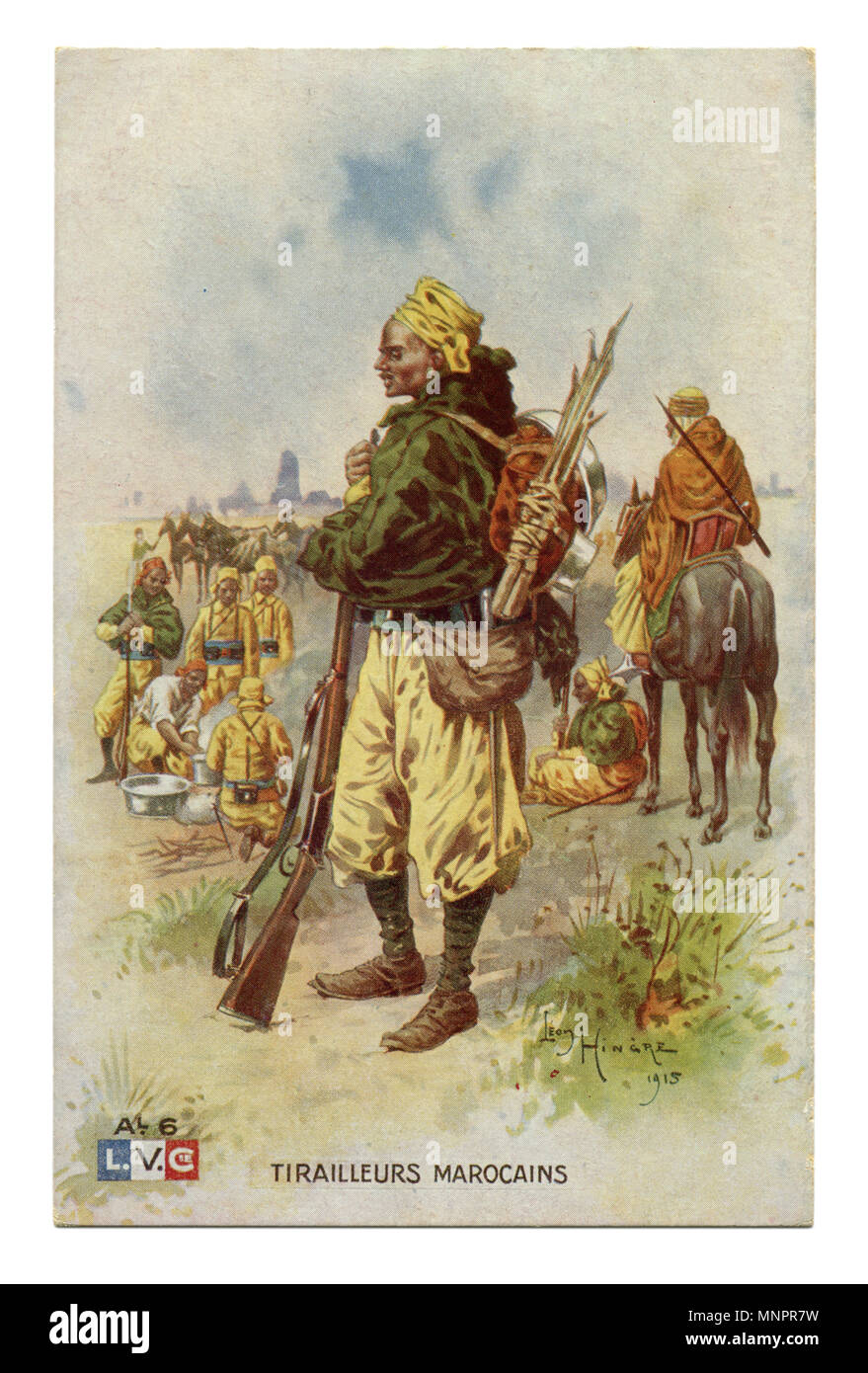 Old French postcard: Moroccan shooter colonial troops soldier of the line infantry in traditional dress in full combat layout, with a knapsack, wwi - Stock Image