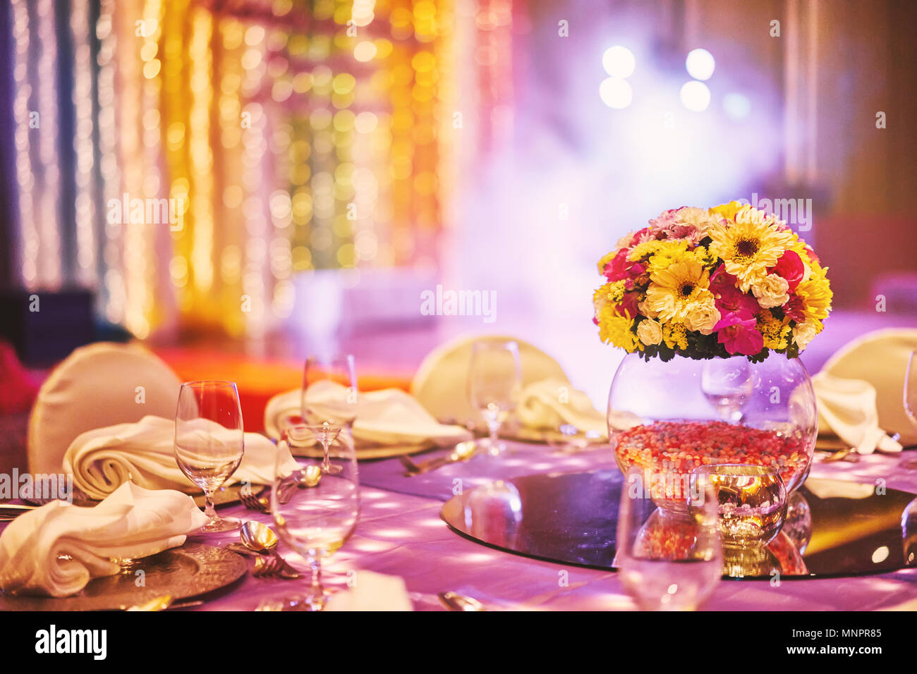 Table Decoration In An Indian Wedding Stock Photos & Table ...