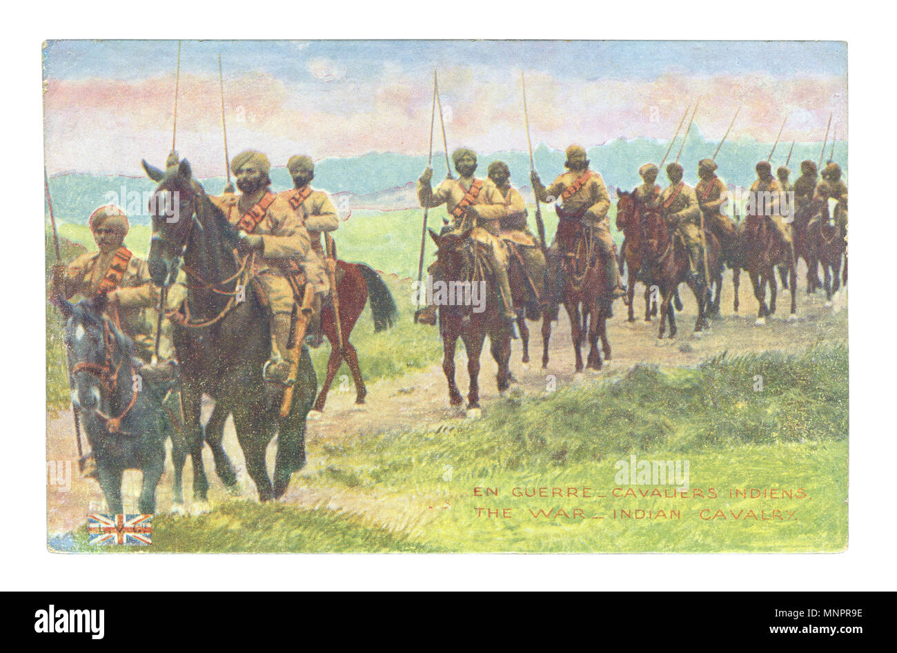 Old French postcard: A column of English - Indian cavalry in turbans with peaks on horseback moving along the road. world war I 1914-1918, The Britain - Stock Image