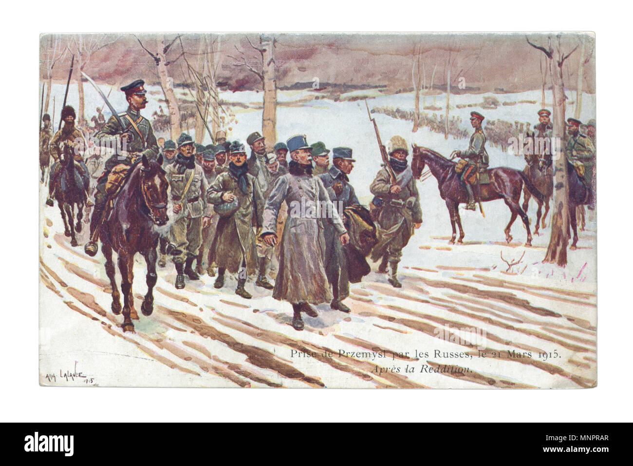 Old French postcard: Russian cavalrymen lead a column of prisoners of Austro-Hungarian soldiers after the capture fortress Przemysl, March 21 1915 - Stock Image