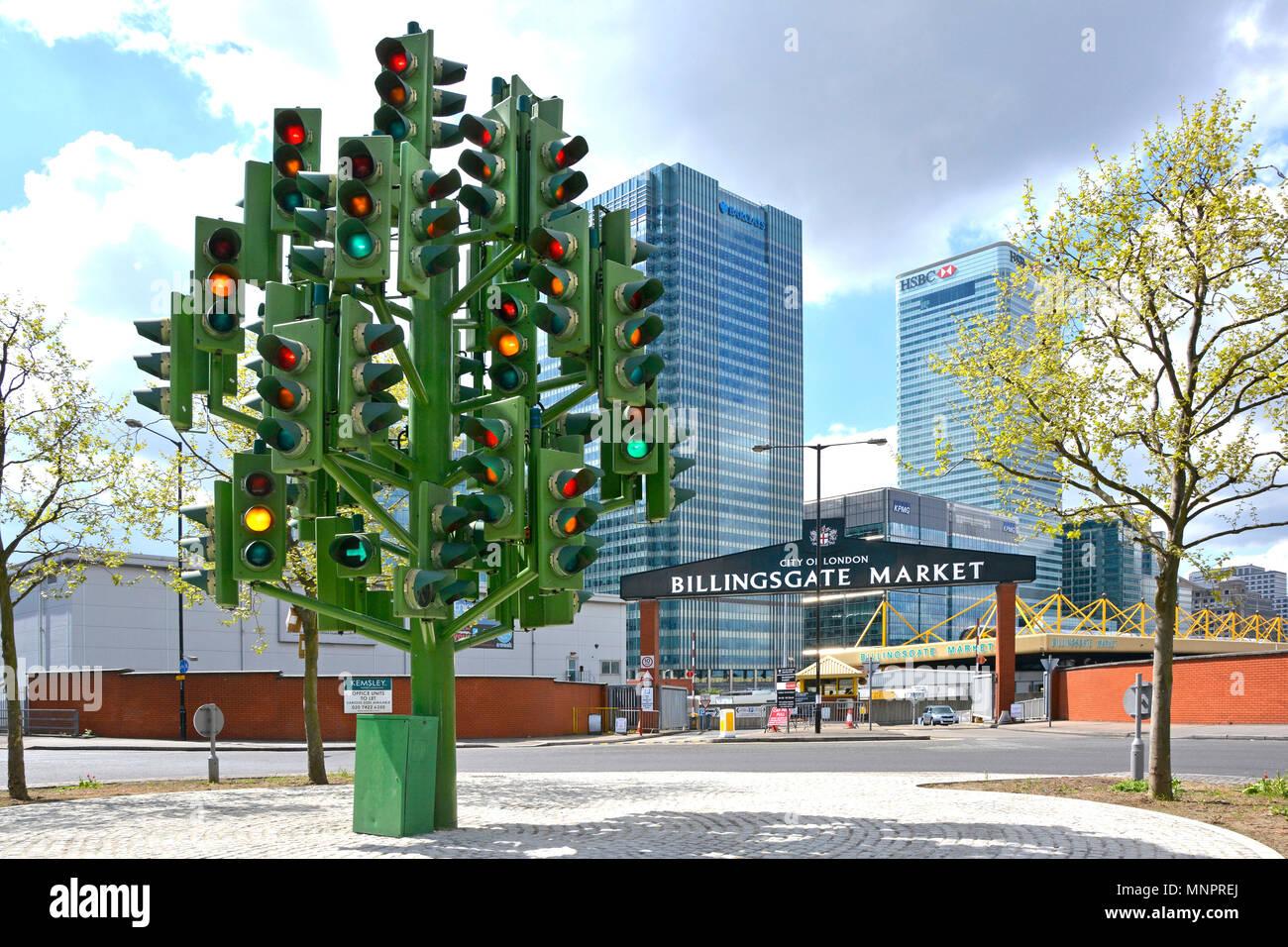 Traffic lights in East London street scene Traffic Light Tree public street art modern sculpture by Pierre Vivant Billingsgate market Isle of Dogs UK - Stock Image