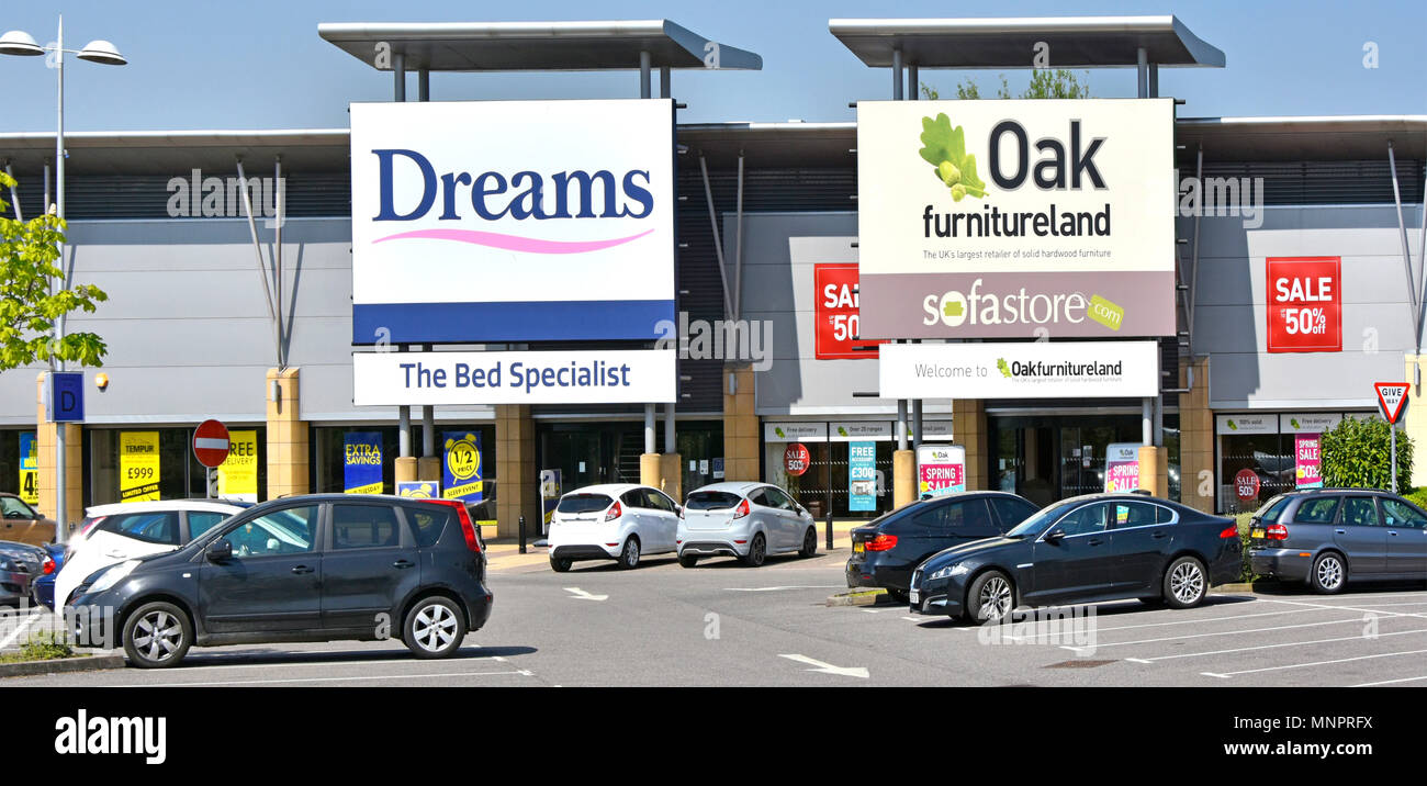 Front Facade Dreams Oak Furniture Land Shop Large Sign Above Store