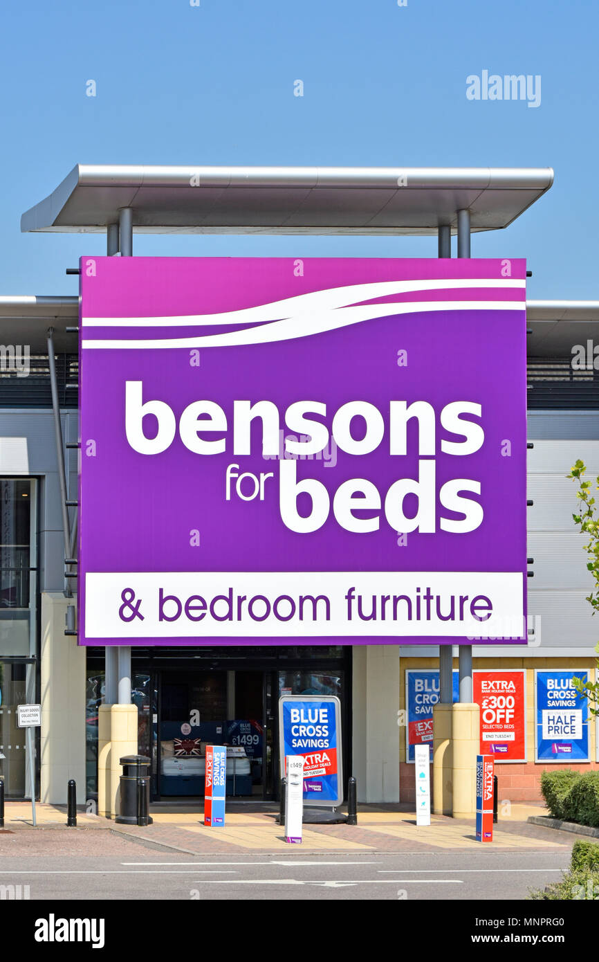 Close up of large Bensons Beds & bedroom furniture retail business shop entrance & store sign on Lakeside Retail Park West Thurrock Essex England UK - Stock Image