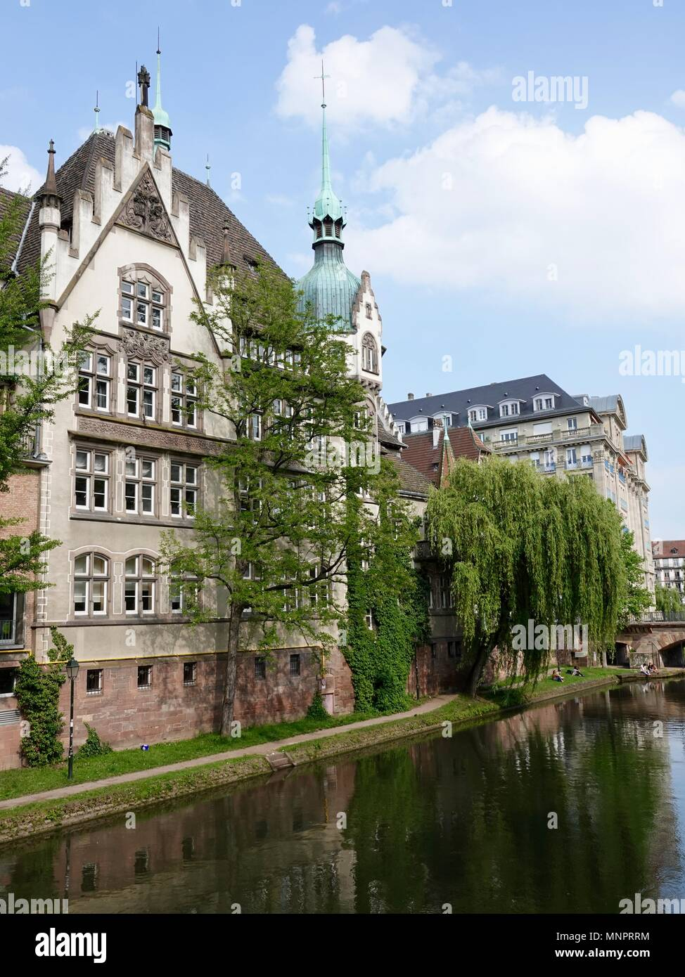 Architecturally interesting structures along the River Ill canal, Strasbourg, France - Stock Image