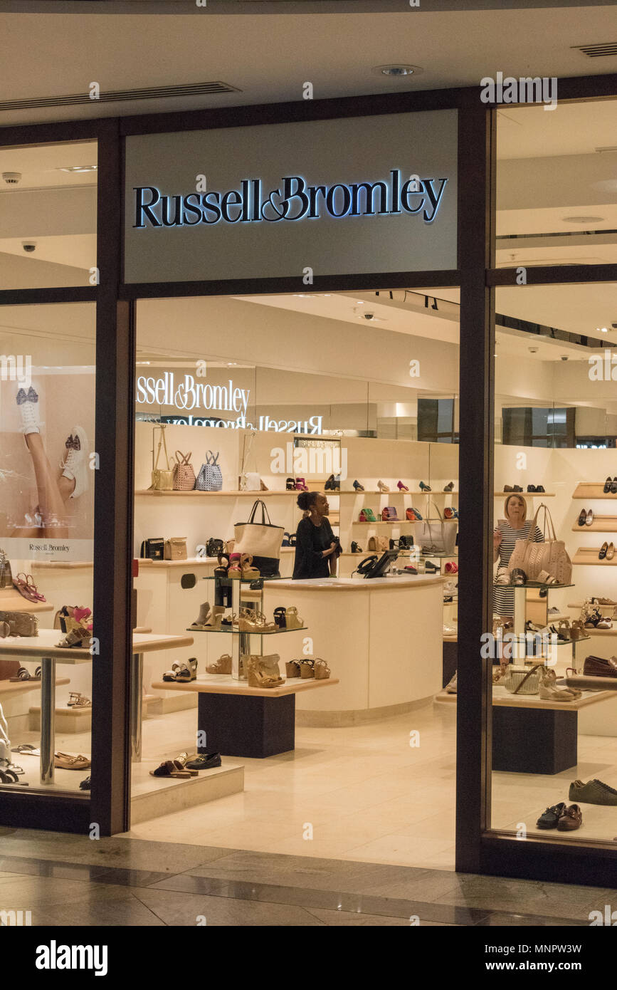 russel and Bromley shoe shop, west quay, Southampton, England, uk. - Stock Image
