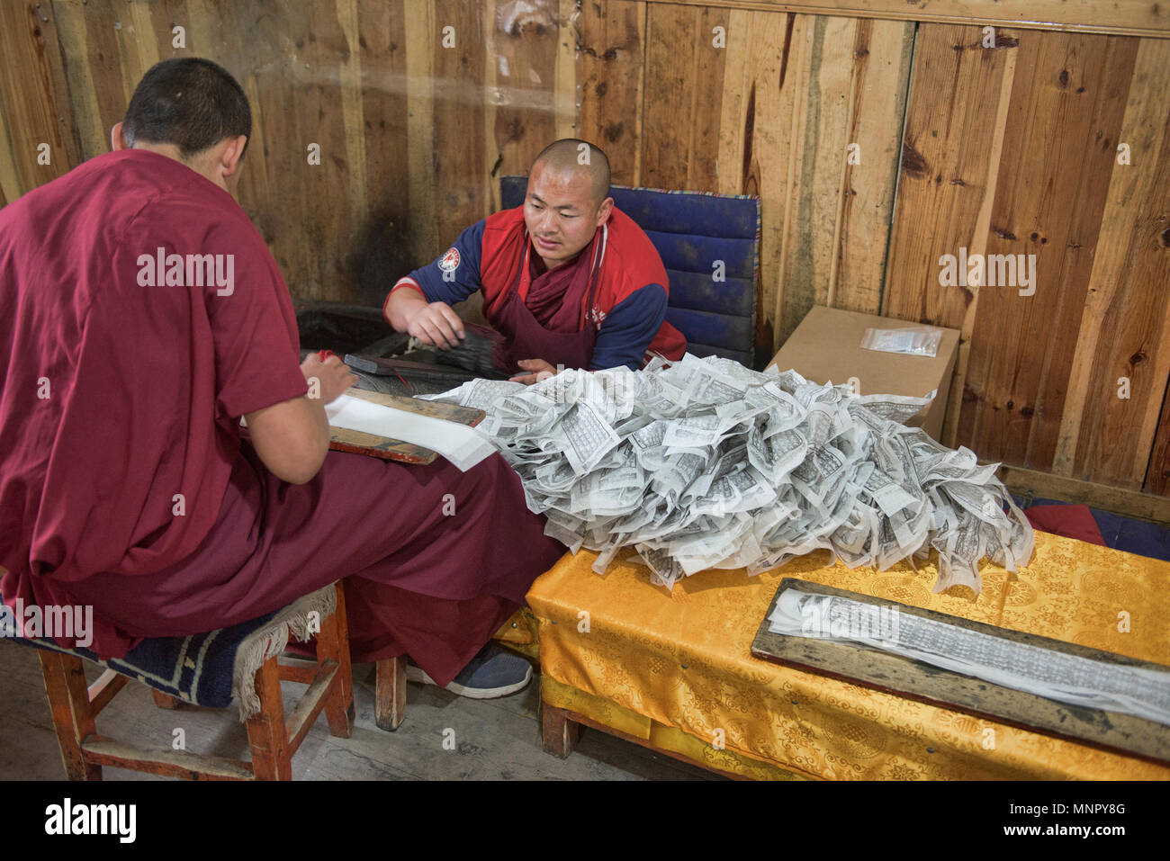 Monks making handmade paper scriptures and woodblock prints inside the holy Bakong Scripture Printing Press Monastery in Dege, Sichuan, China - Stock Image