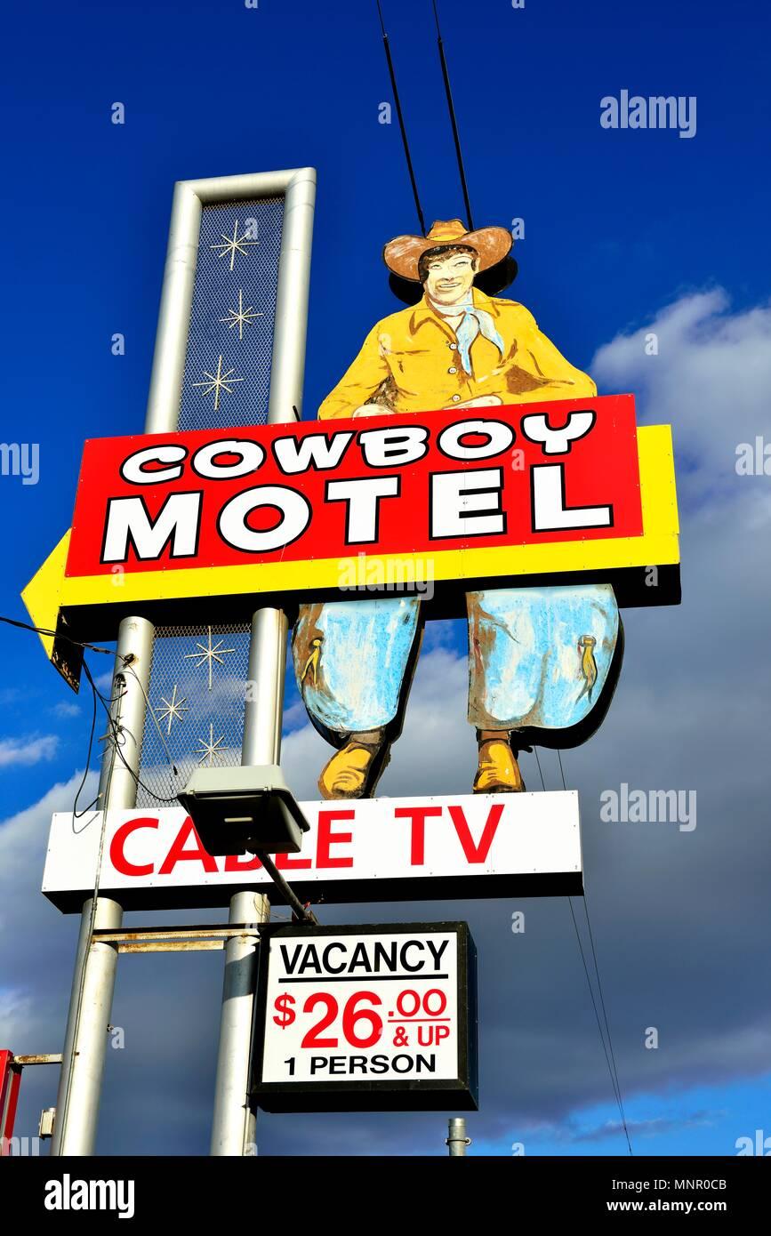 Cowboy Motel, Route 66, Amarillo, Texas, United States - Stock Image