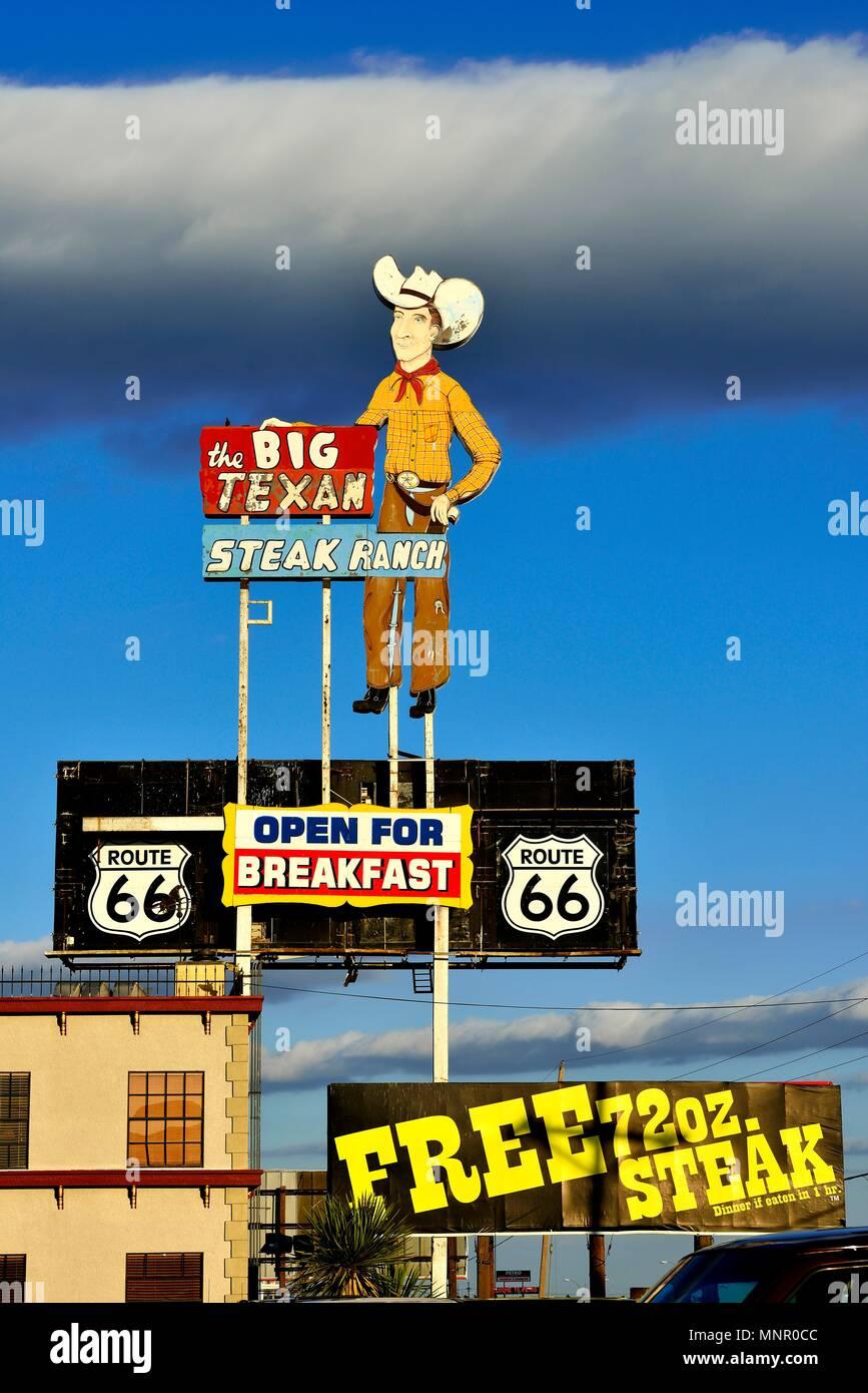 Advertising sign for Restaurant, Big Texan Steakhouse, Route 66, Amarillo, Texas, USA - Stock Image