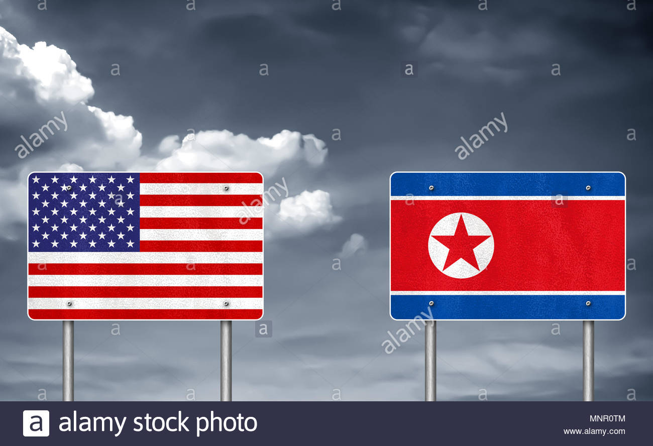Trade conflict between USA and North Korea - Stock Image