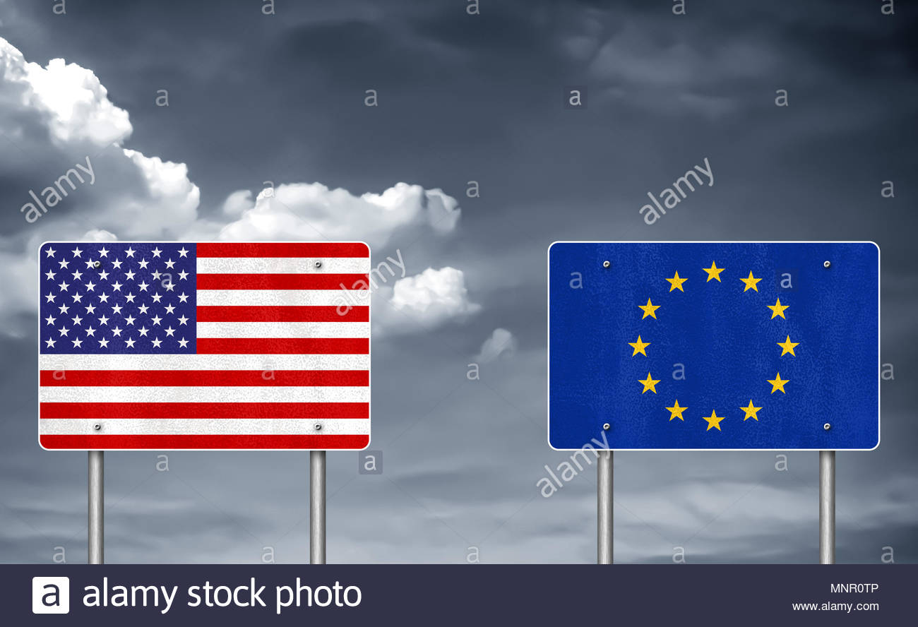 Trade conflict between USA and the European Union - tariff war - Stock Image