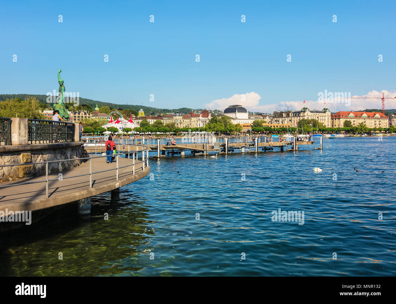 Zurich, Switzerland - May 11, 2018: Lake Zurich, view from the city of Zurich. Lake Zurich is a lake in Switzerland, extending southeast of the city o - Stock Image