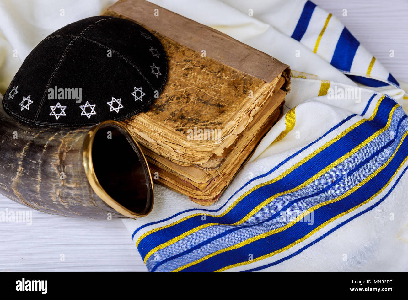 Tallit And Shofar Horn Jewish Religious Symbol Prayer Shawl Stock