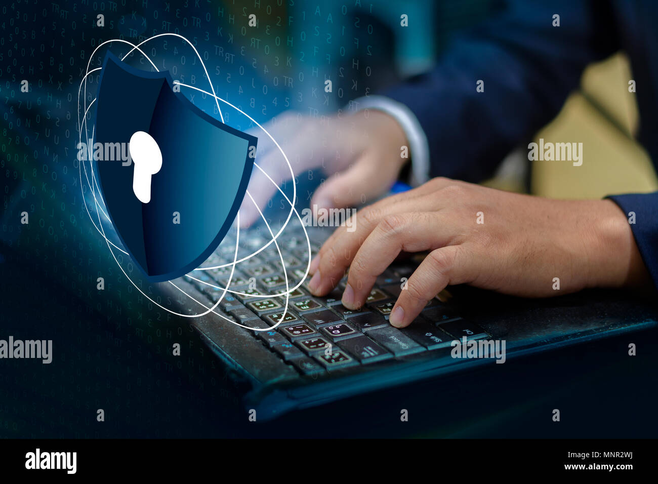 Press enter button on the keyboard computer Shield cyber Key lock security system abstract technology world digital link cyber security on hi tech Dar Stock Photo