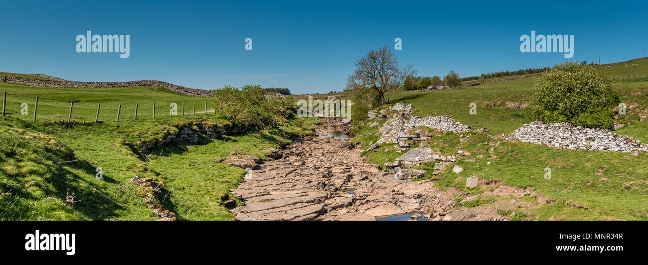 North Pennines panoramic landscape, the upper reaches of the river Greta, near Bowes, Teesdale, UK - Stock Image