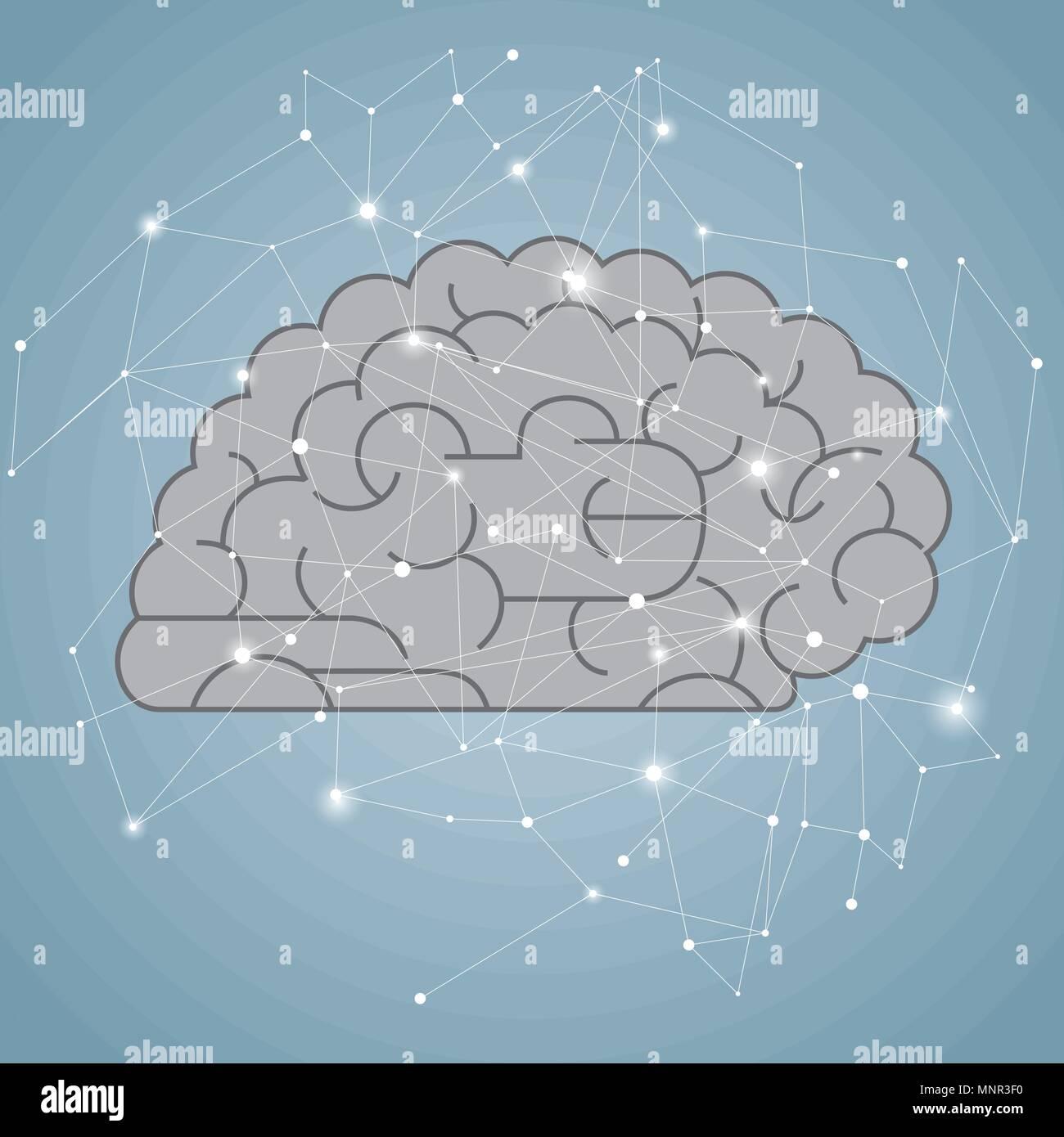 Big creative design concept, vector drawn brain graphics. - Stock Image