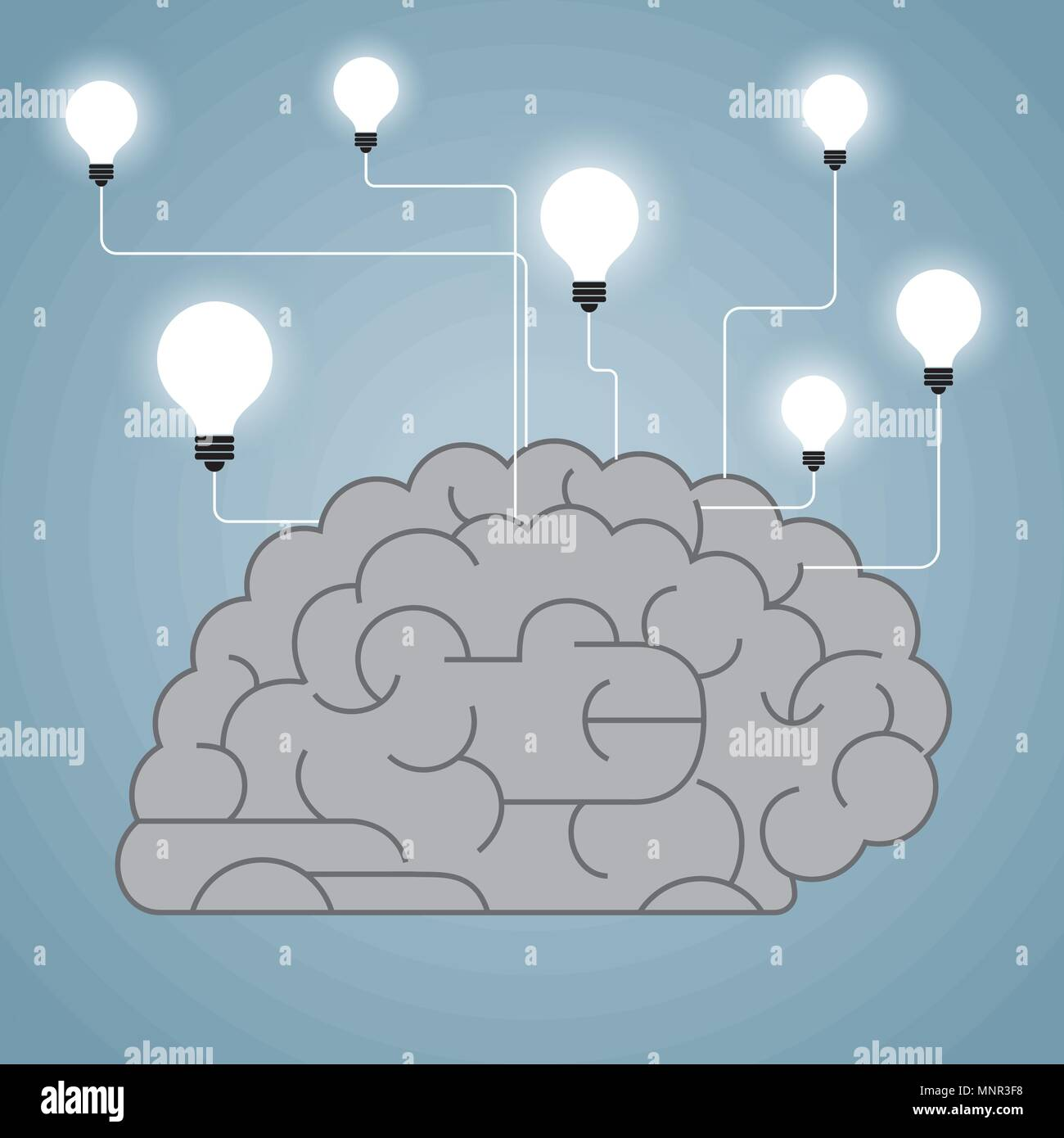 Big creative design concept, brain and light bulb combination. - Stock Image