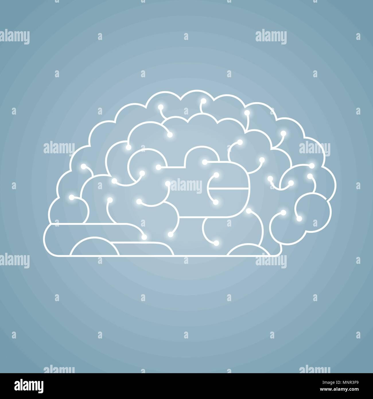 Vector drawn brain graphic - Stock Image