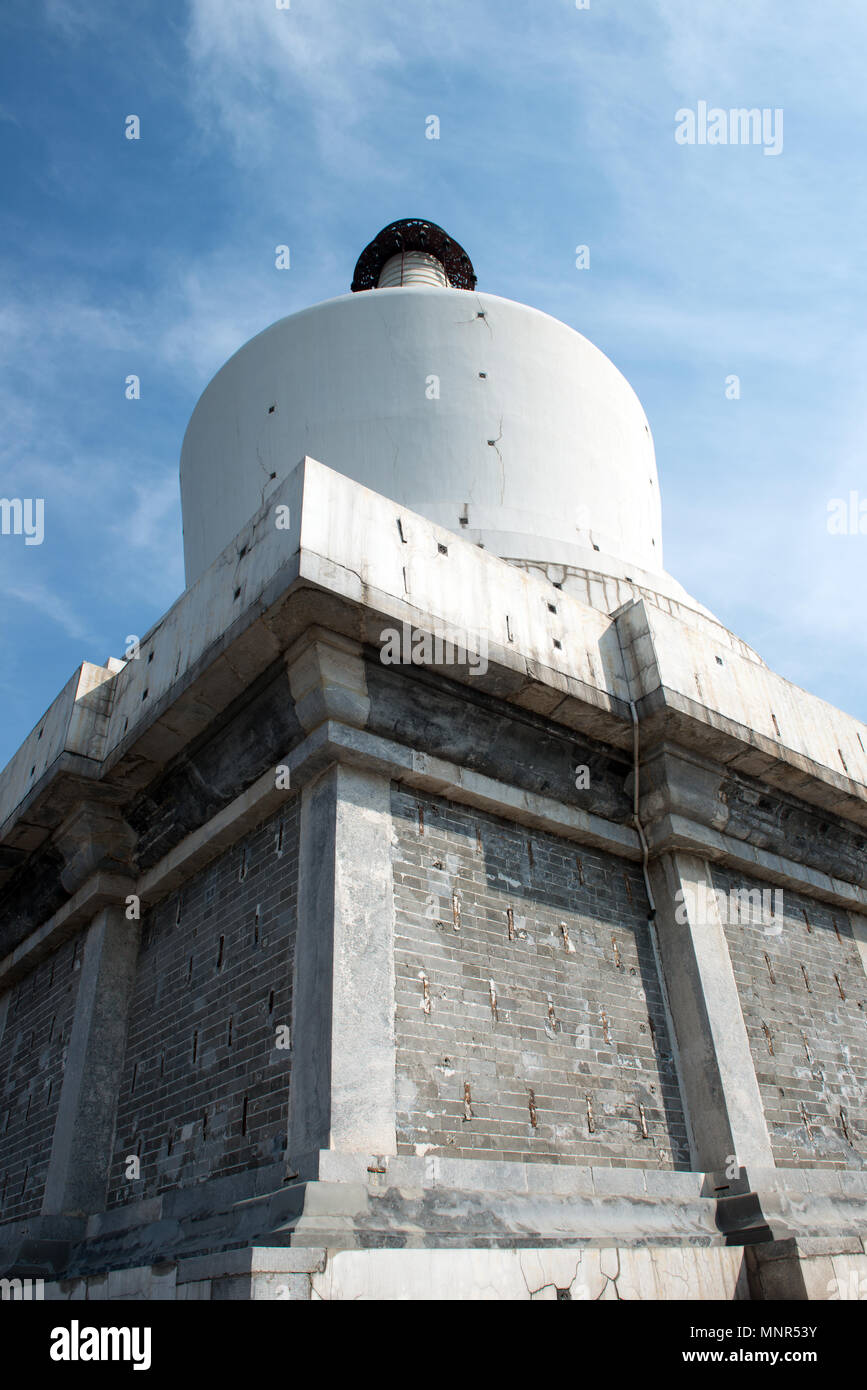 White pagoda at Beihai park in Beijing China Stock Photo