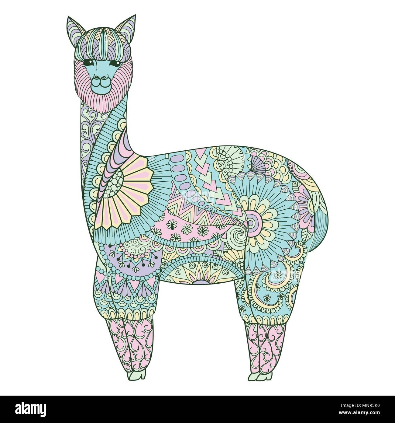 Cute Coloring Lama Zentangle Art For Design Element Stock