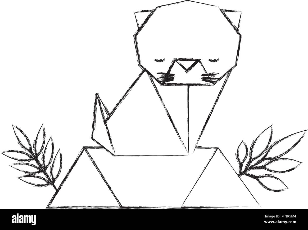 Cat In Field Stock Vector Images Alamy Origami Diagram Paper The