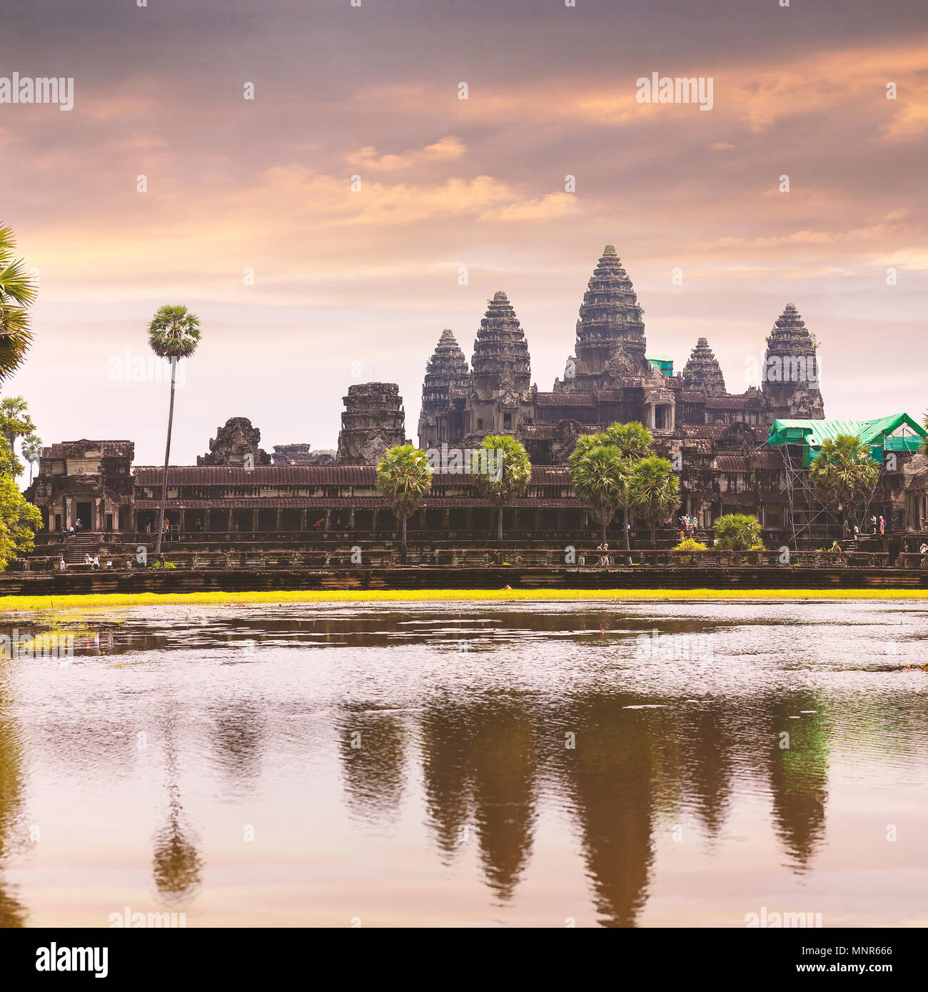 Angkor Wat temple with reflecting in water - Stock Image