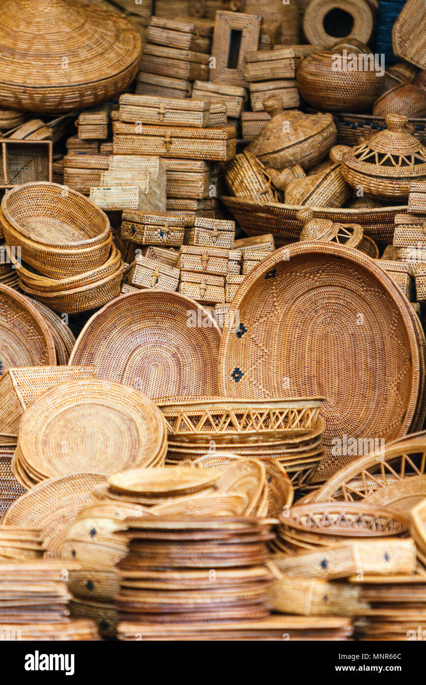 Souvenirs straw hats and baskets - Stock Image