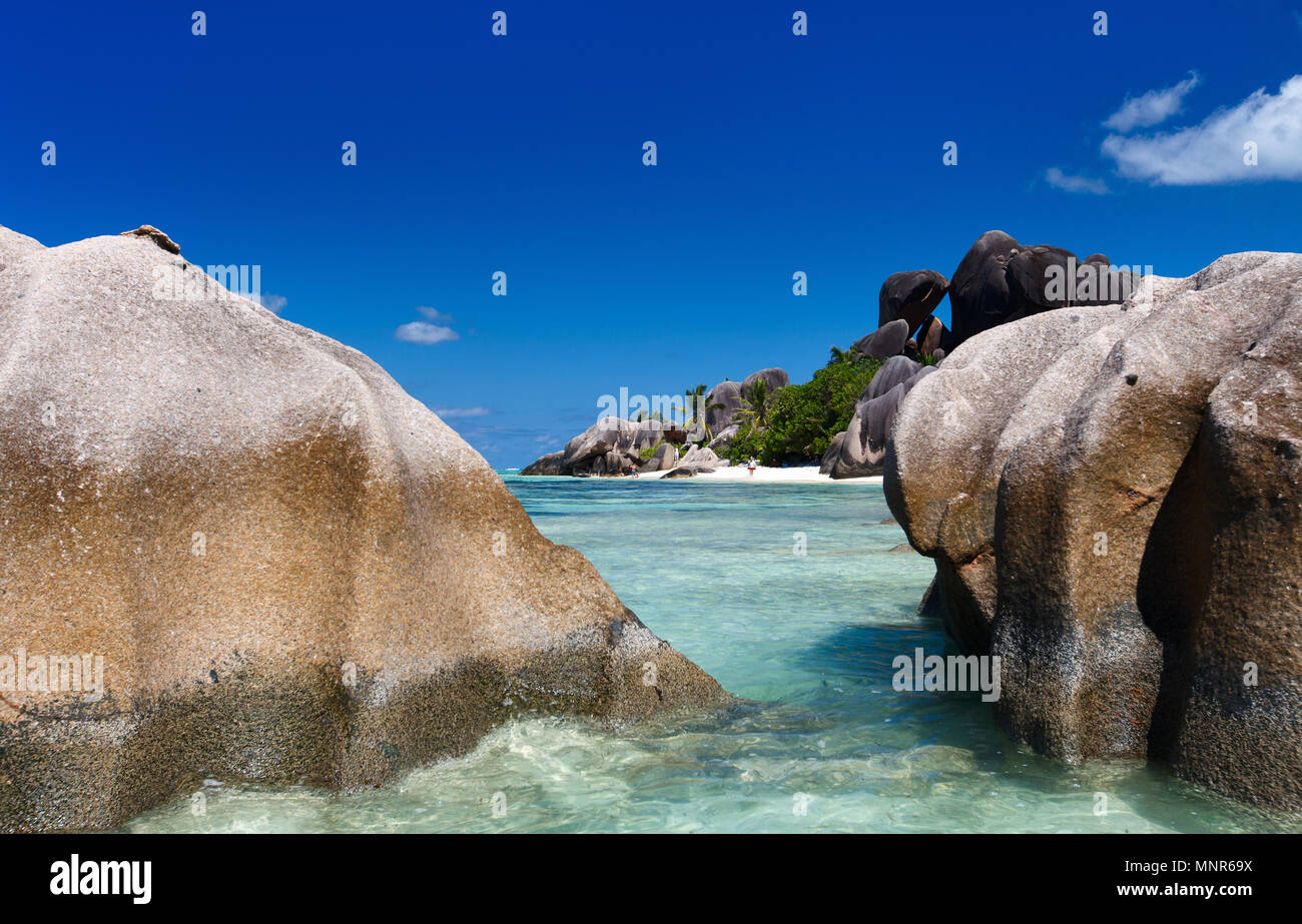 Picturesque Anse Source d'Argent beach on tropical La Digue island in Seychelles - Stock Image