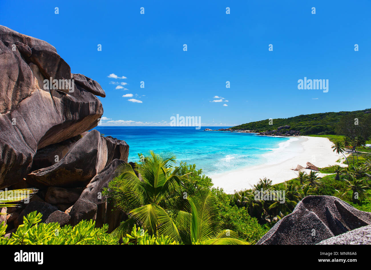 Aerial view of beautiful Grand Anse beach on La Digue island in Seychelles - Stock Image