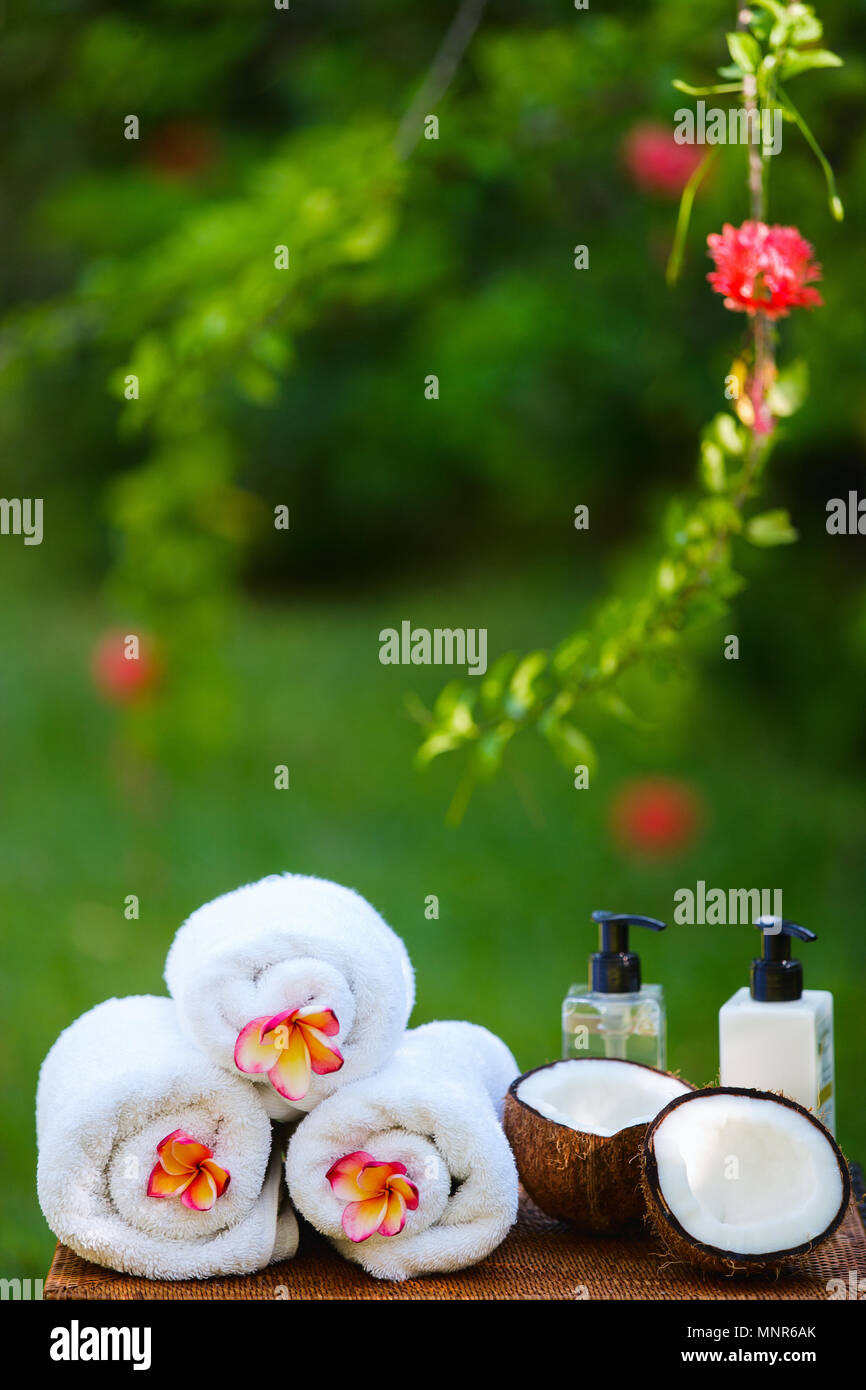 Close up of tropical Spa setting outdoors Stock Photo