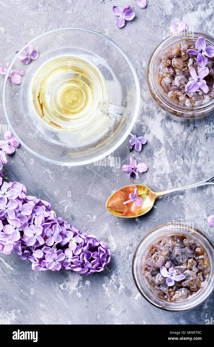 Tea with lilac jam for strengthening immunity and improving the body - Stock Image